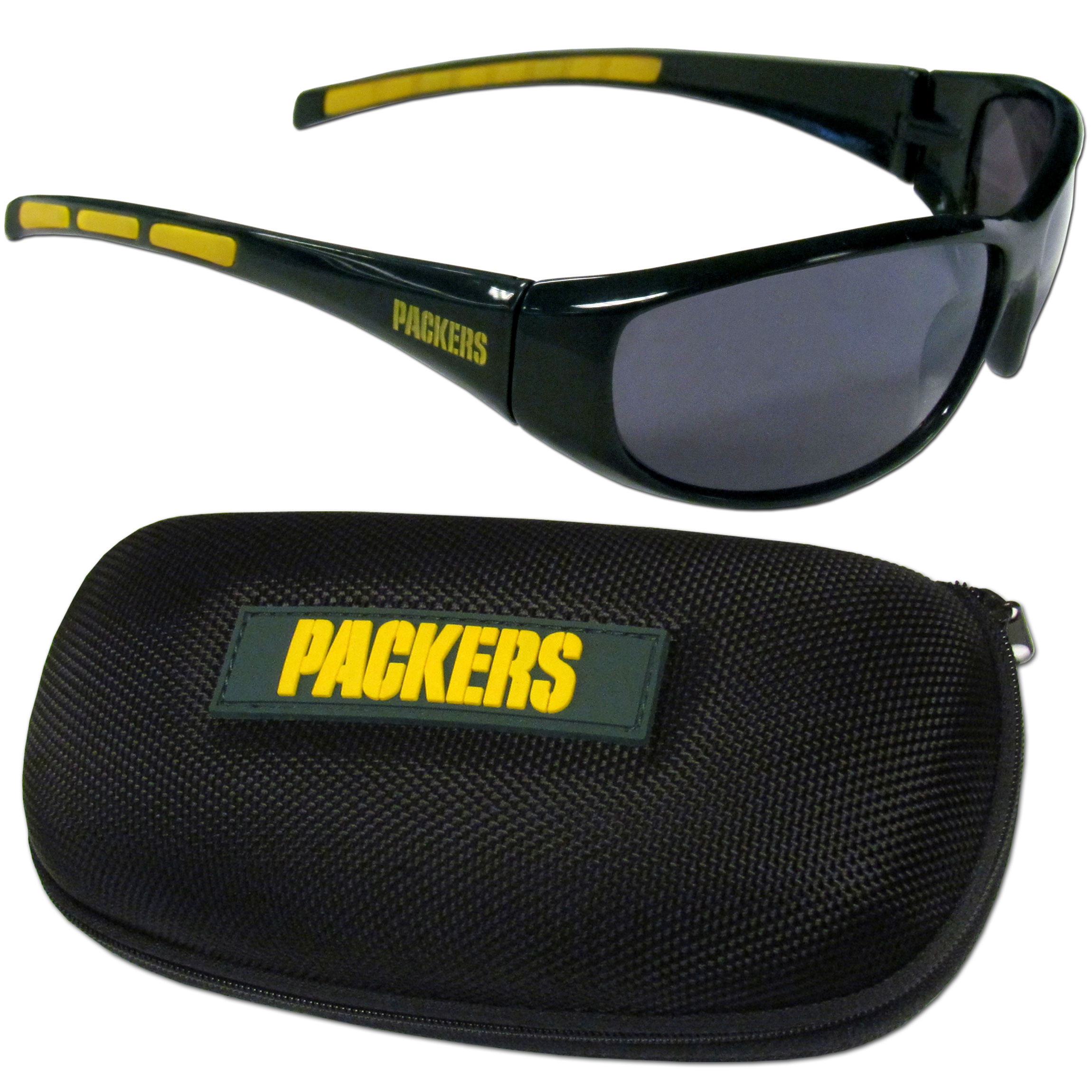 Green Bay Packers Wrap Sunglass and Case Set - This great set includes a high quality pair of Green Bay Packers wrap sunglasses and hard carrying case.