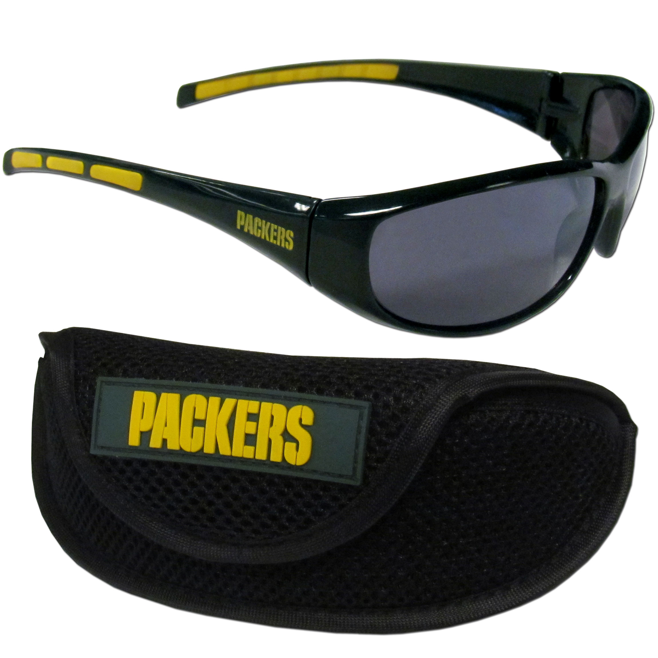 Green Bay Packers Wrap Sunglass and Case Set - This great set includes a high quality pair of Green Bay Packers wrap sunglasses and sport carrying case.
