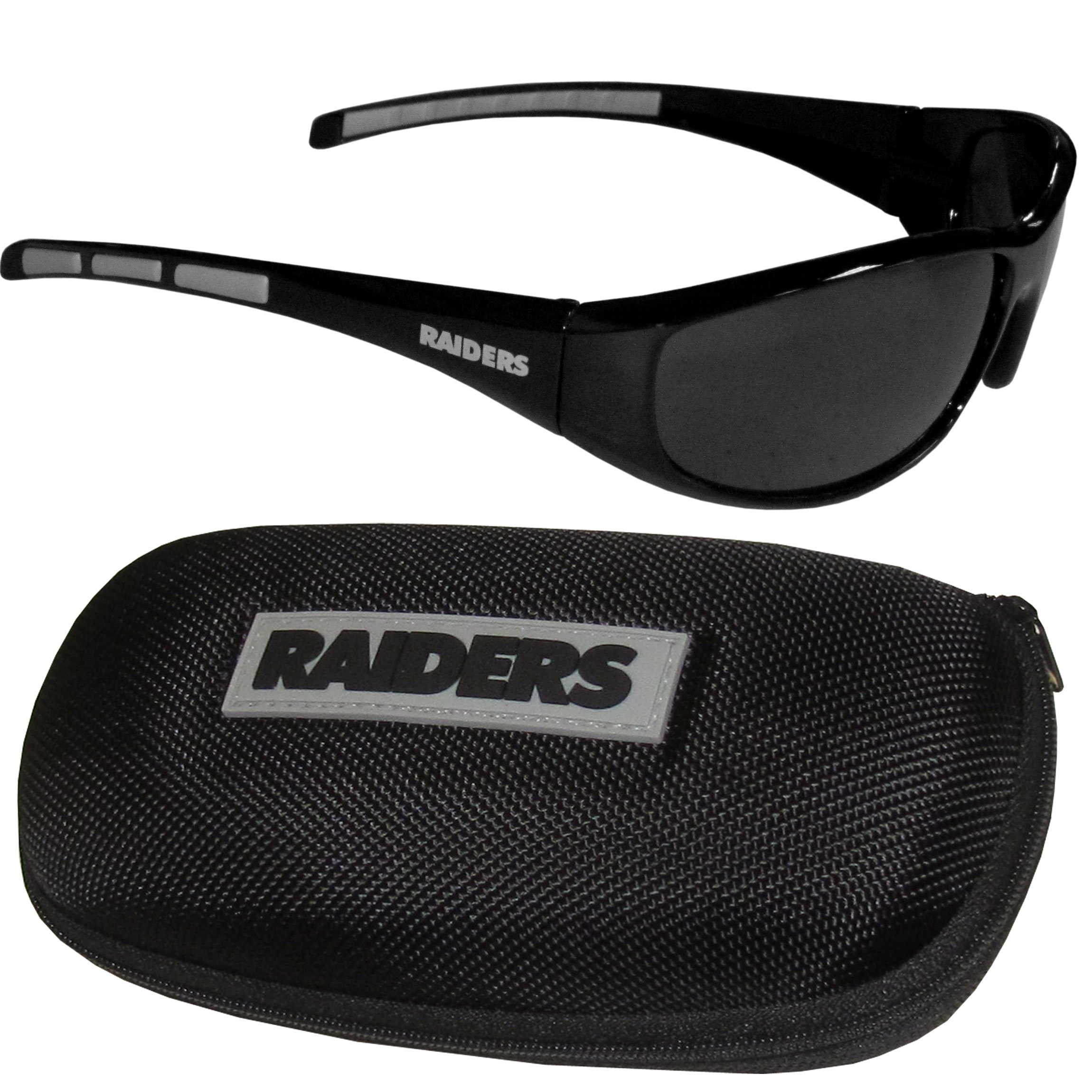 Oakland Raiders Wrap Sunglass and Case Set - This great set includes a high quality pair of Oakland Raiders wrap sunglasses and hard carrying case.