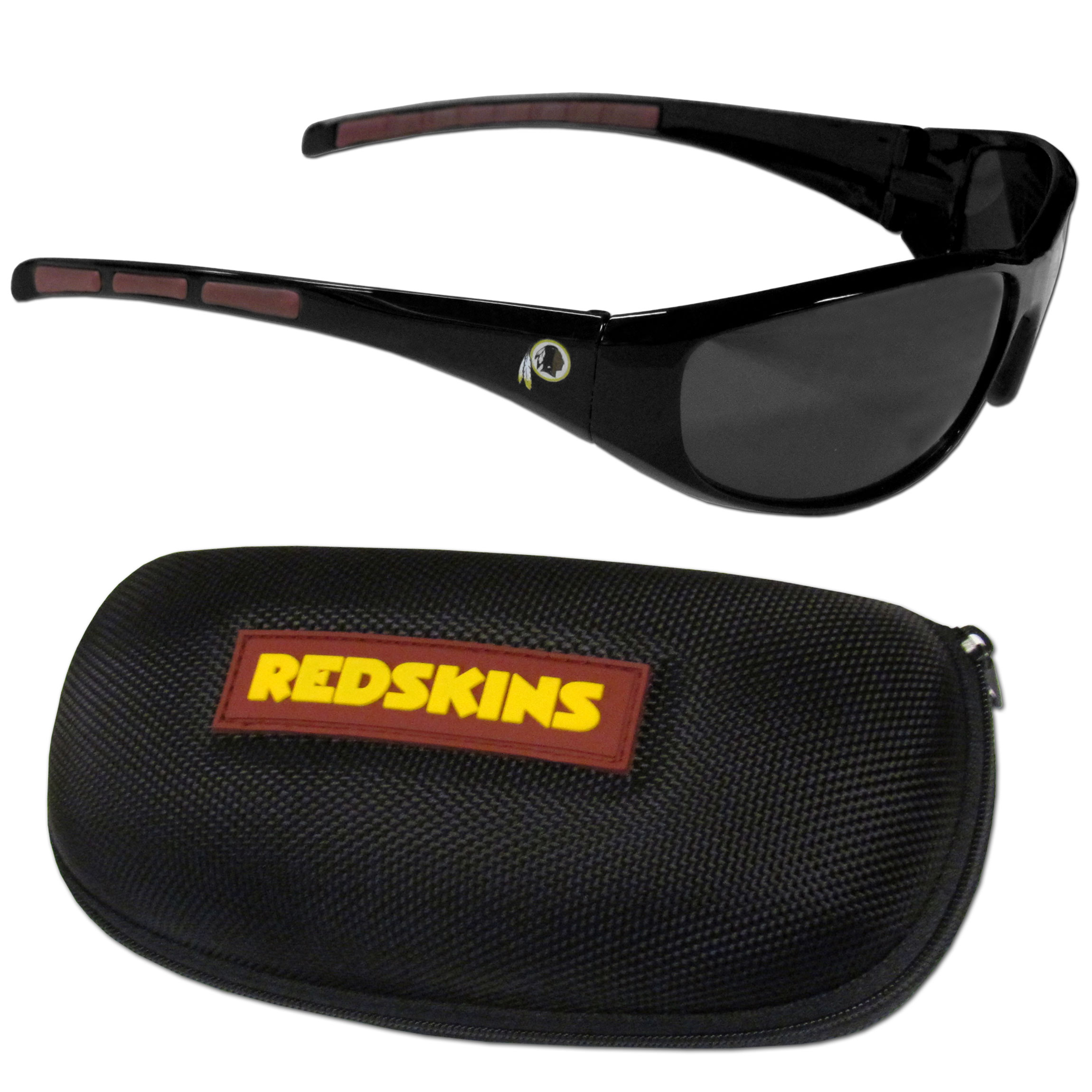 Washington Redskins Wrap Sunglass and Case Set - This great set includes a high quality pair of Washington Redskins wrap sunglasses and hard carrying case.