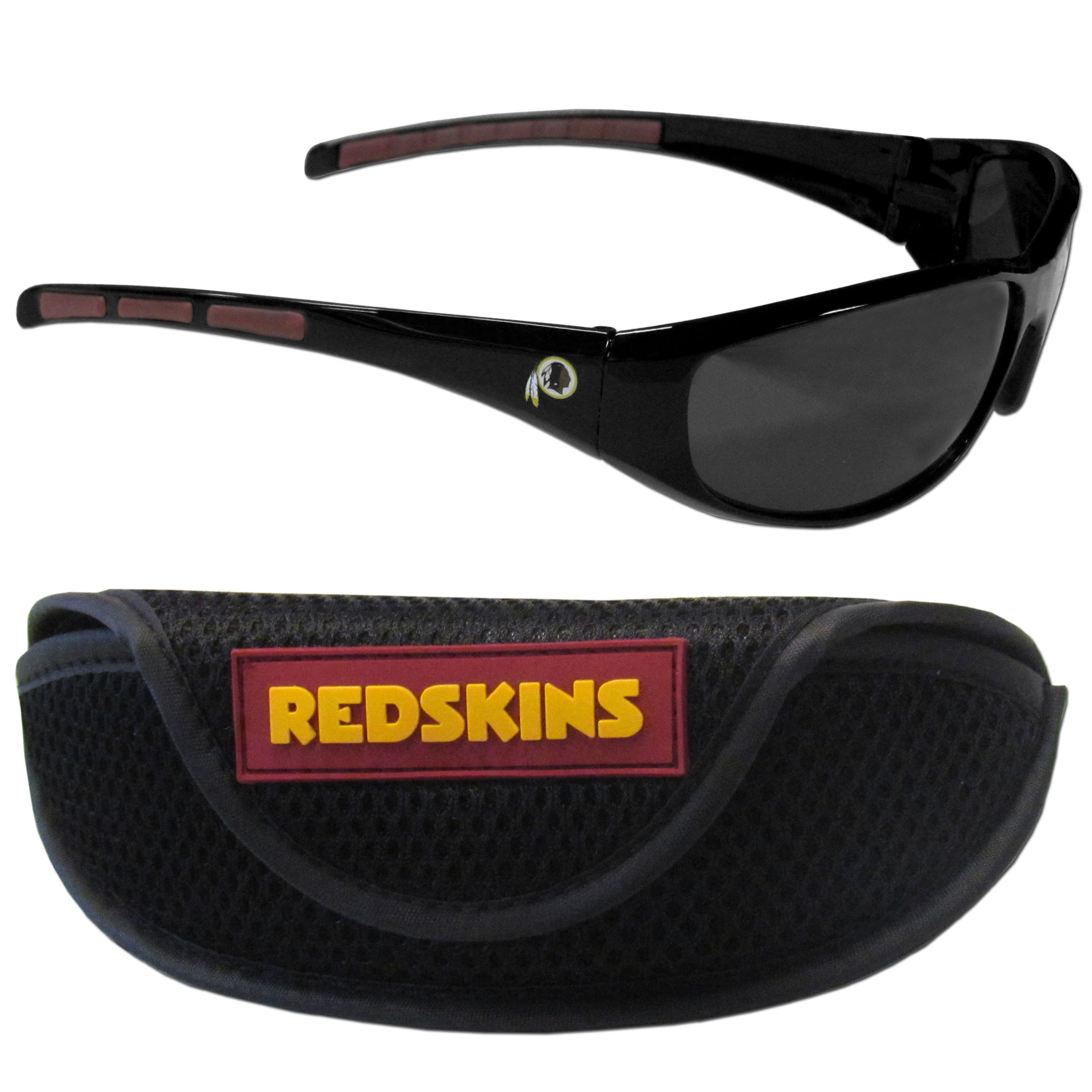 Washington Redskins Wrap Sunglass and Case Set - This great set includes a high quality pair of Washington Redskins wrap sunglasses and sport carrying case.