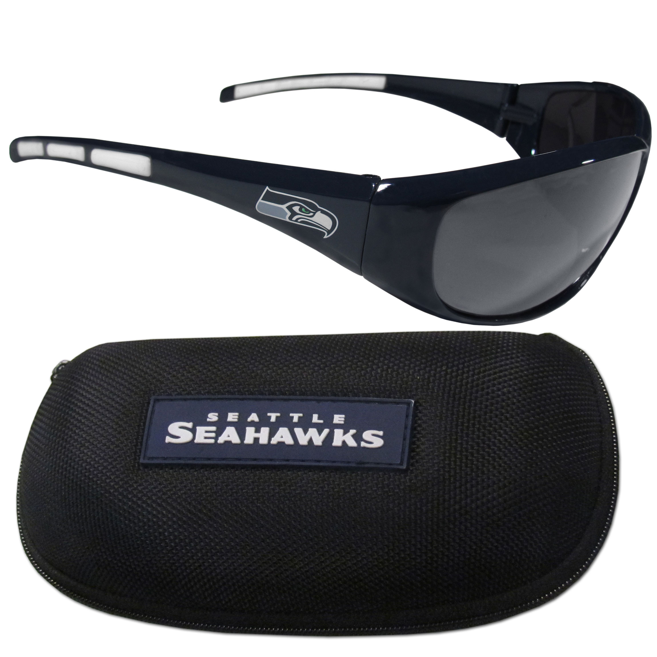 Seattle Seahawks Wrap Sunglass and Case Set - This great set includes a high quality pair of Seattle Seahawks wrap sunglasses and hard carrying case.