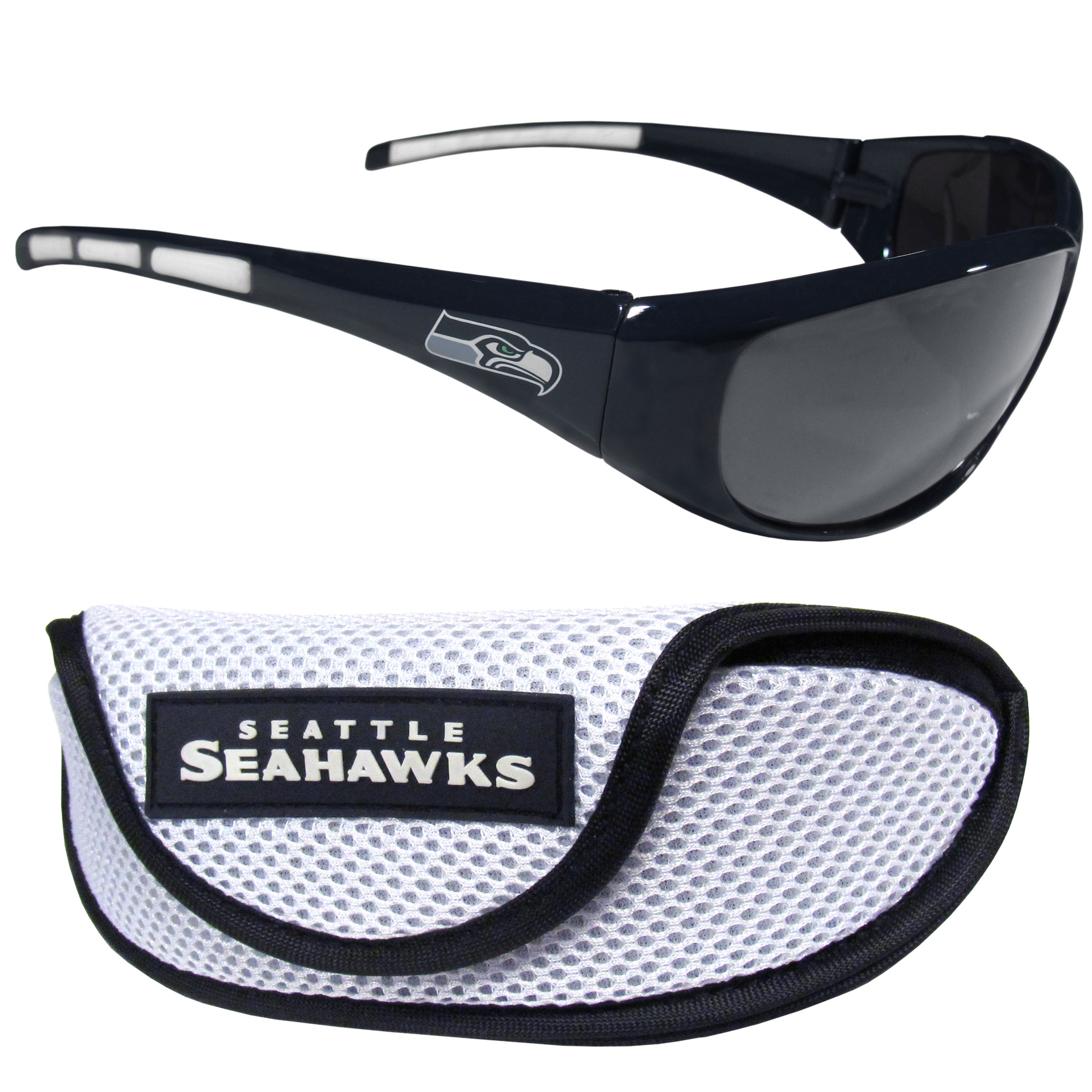 Seattle Seahawks Wrap Sunglass and Case Set - This great set includes a high quality pair of Seattle Seahawks wrap sunglasses and sport carrying case.