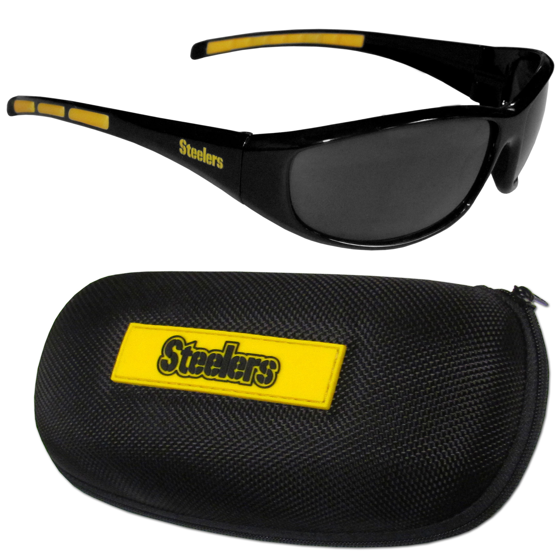 Pittsburgh Steelers Wrap Sunglass and Case Set - This great set includes a high quality pair of Pittsburgh Steelers wrap sunglasses and hard carrying case.