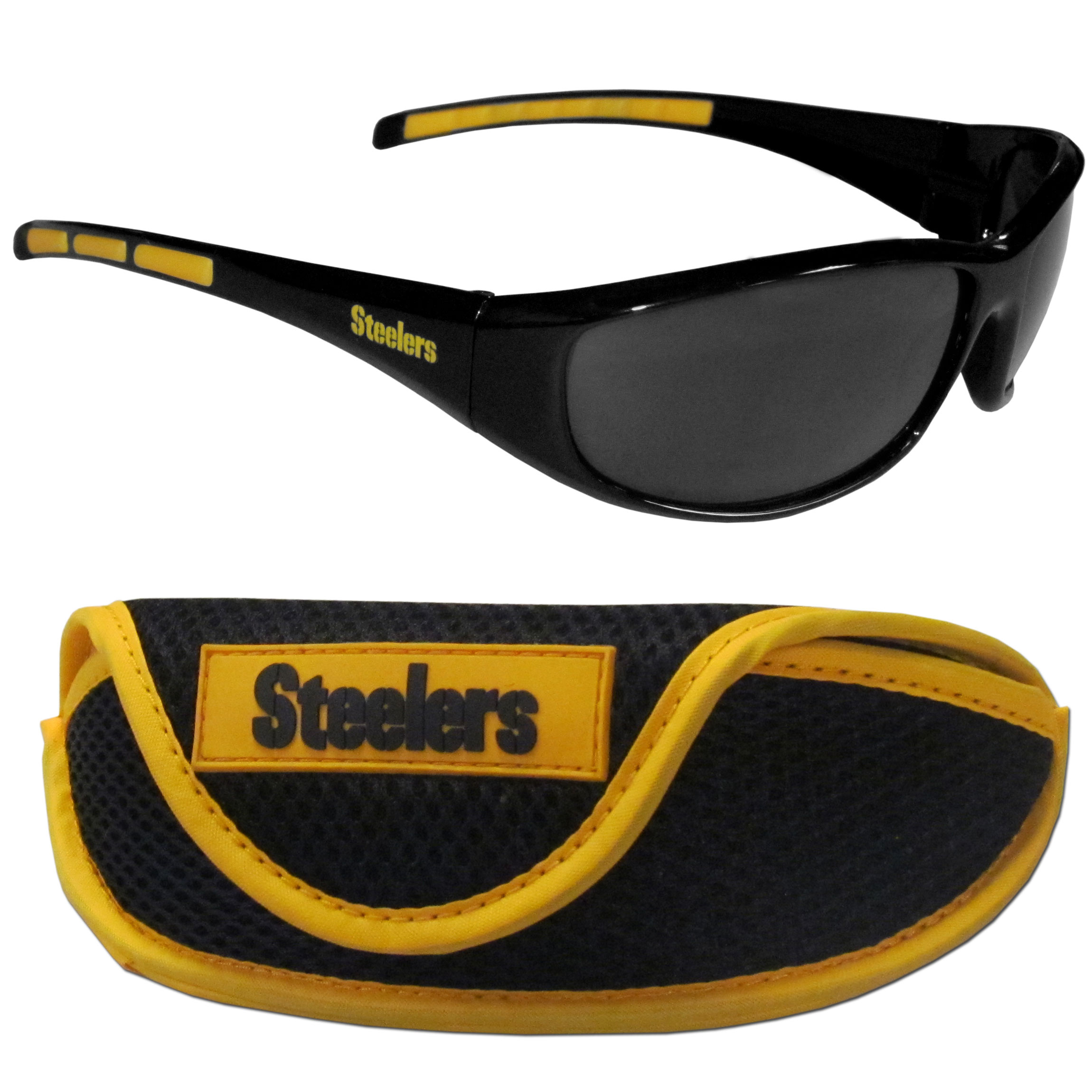 Pittsburgh Steelers Wrap Sunglass and Case Set - This great set includes a high quality pair of Pittsburgh Steelers wrap sunglasses and sport carrying case.