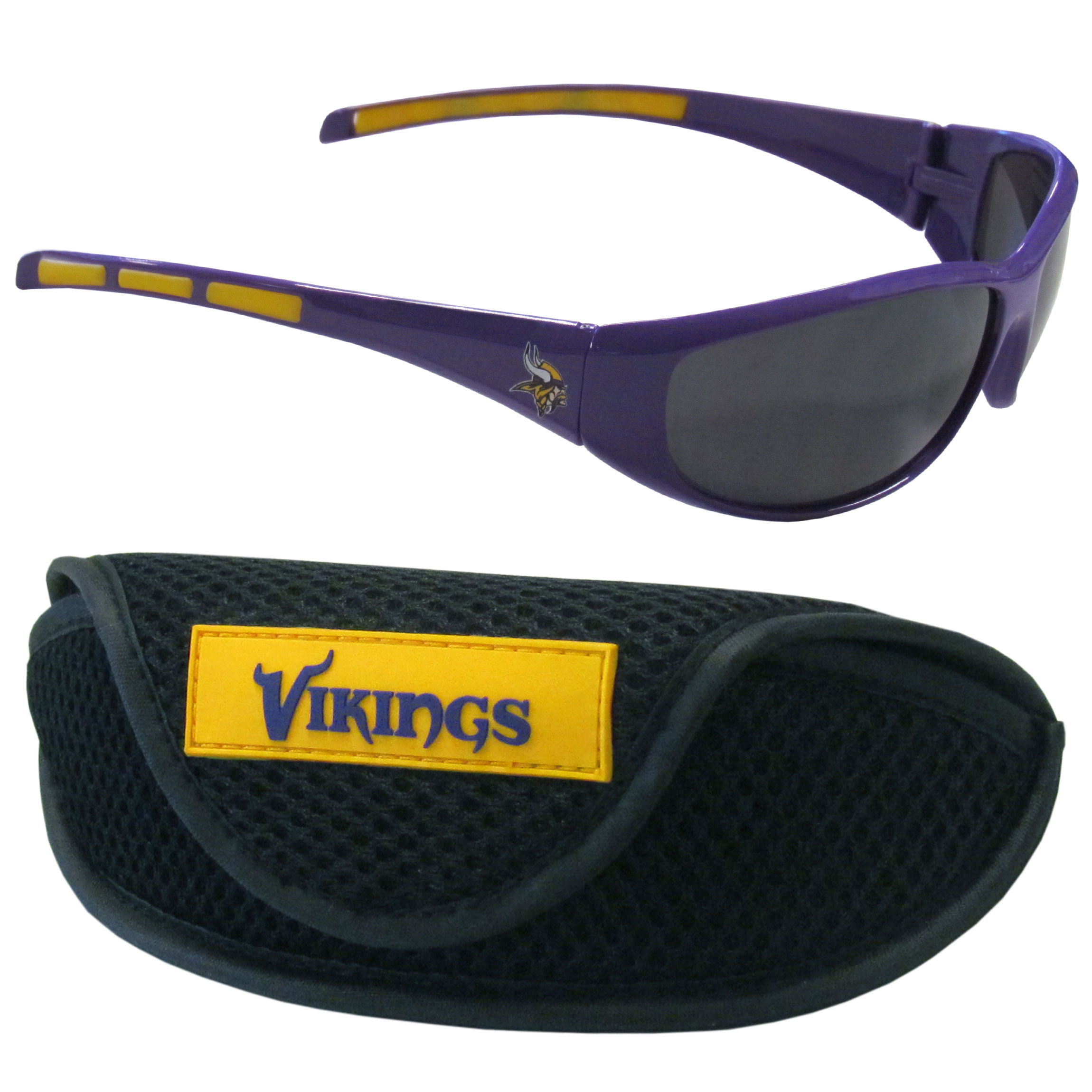 Minnesota Vikings Wrap Sunglass and Case Set - This great set includes a high quality pair of Minnesota Vikings wrap sunglasses and sport carrying case.