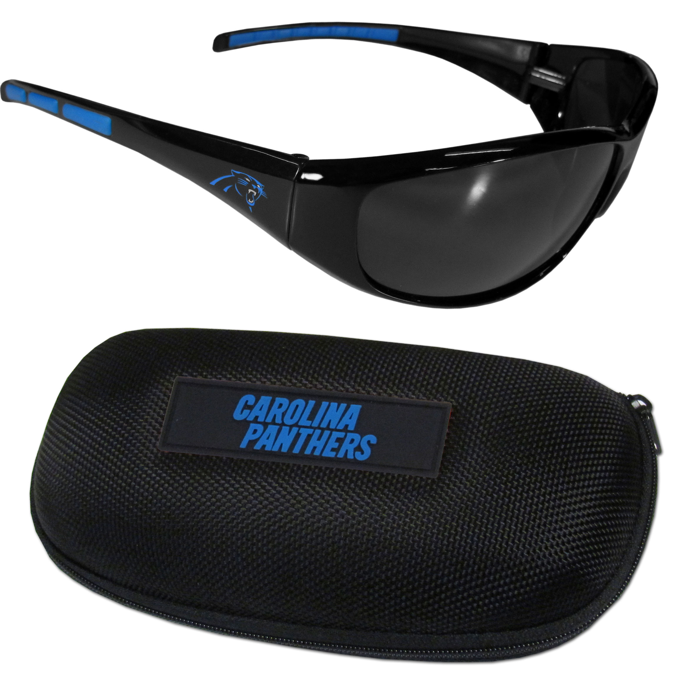 Carolina Panthers Wrap Sunglass and Case Set - This great set includes a high quality pair of  Carolina Panthers wrap sunglasses and hard carrying case.
