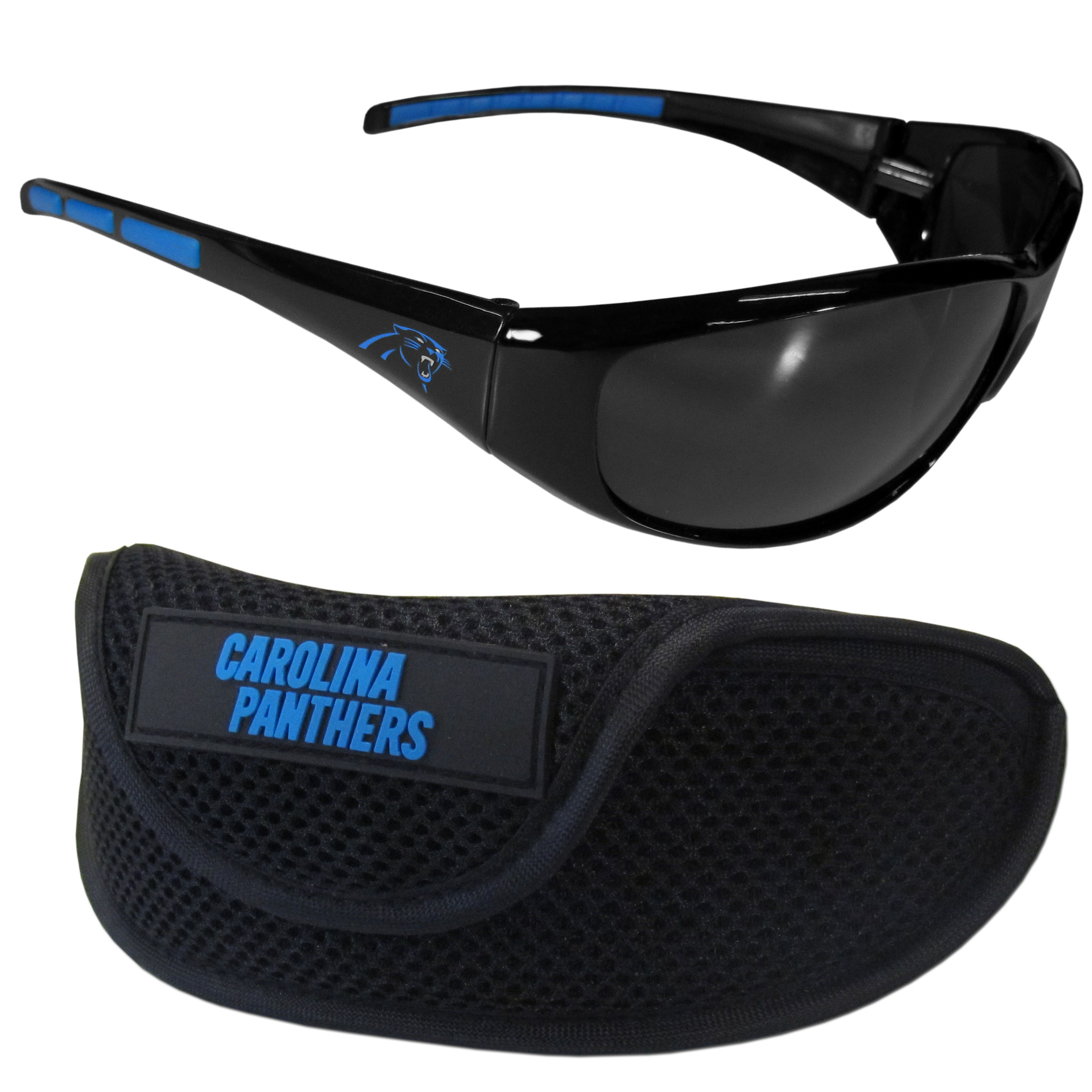 Carolina Panthers Wrap Sunglass and Case Set - This great set includes a high quality pair of  Carolina Panthers wrap sunglasses and sport carrying case.