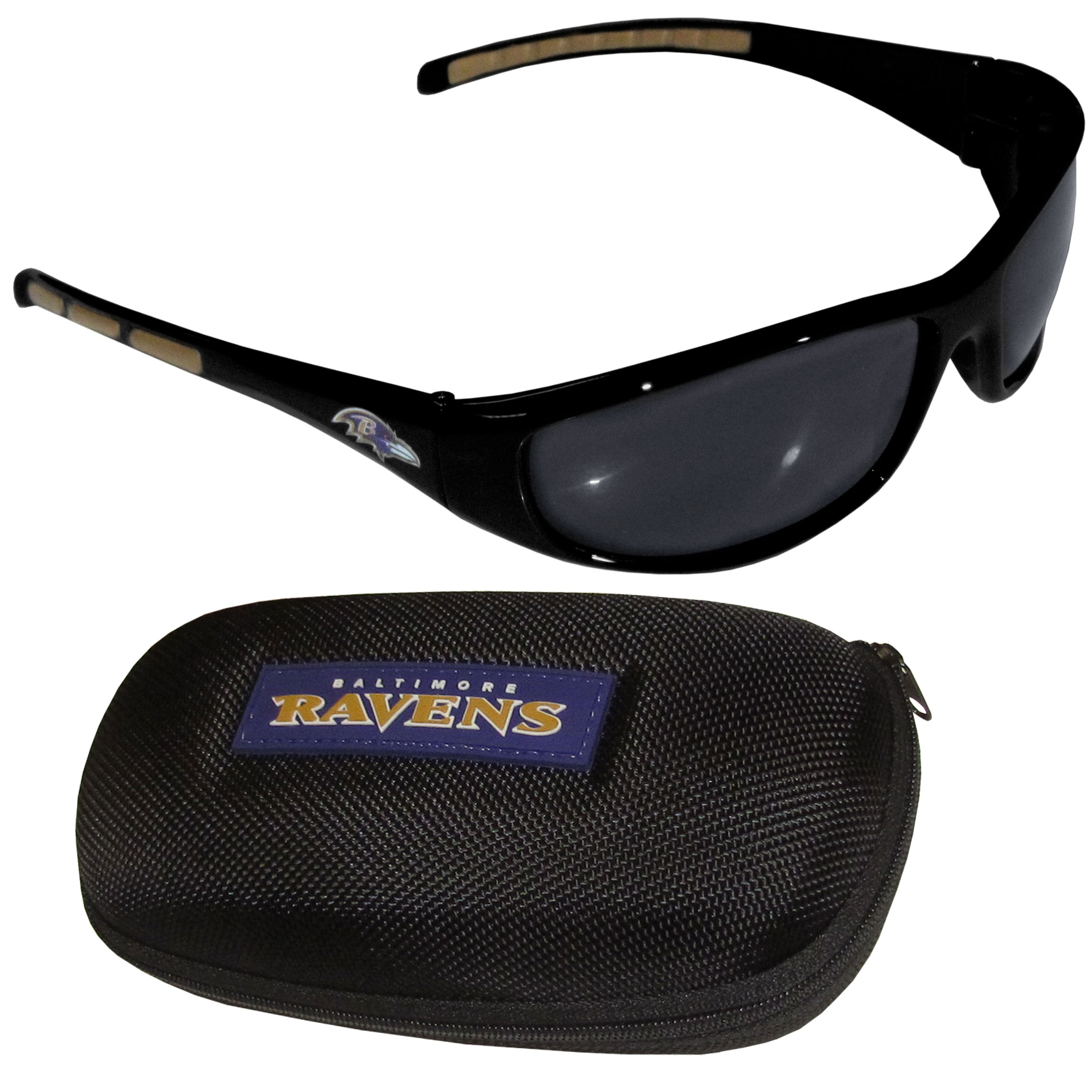 Baltimore Ravens Wrap Sunglass and Case Set - This great set includes a high quality pair of Baltimore Ravens wrap sunglasses and hard carrying case.