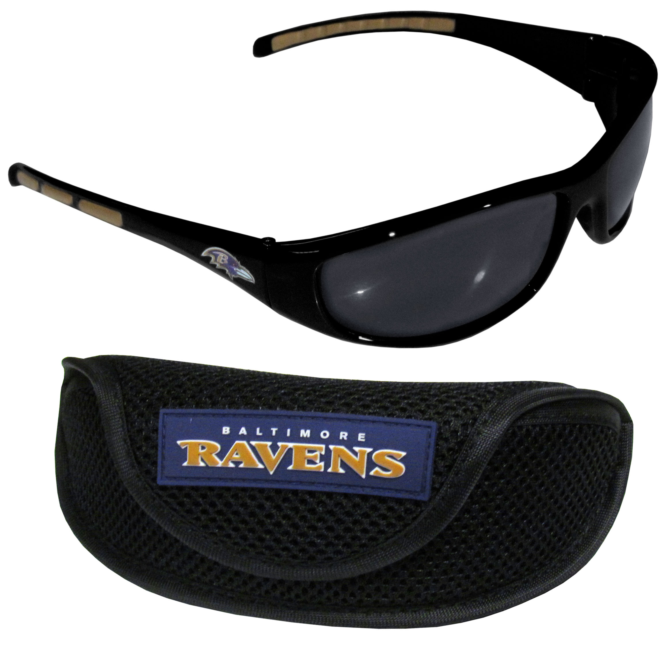 Baltimore Ravens Wrap Sunglass and Case Set - This great set includes a high quality pair of Baltimore Ravens wrap sunglasses and sport carrying case.