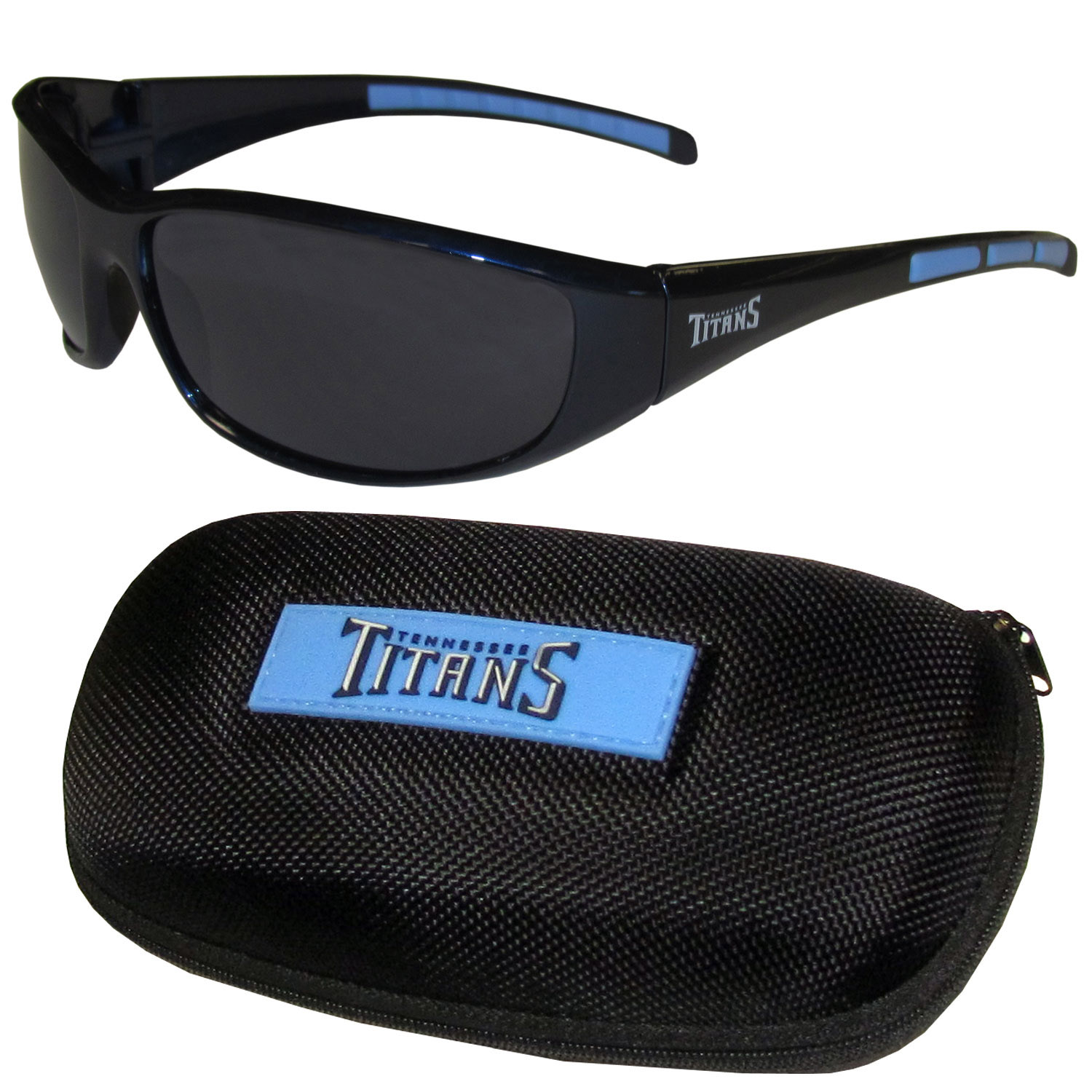 Tennessee Titans Wrap Sunglass and Case Set - This great set includes a high quality pair of Tennessee Titans wrap sunglasses and hard carrying case.