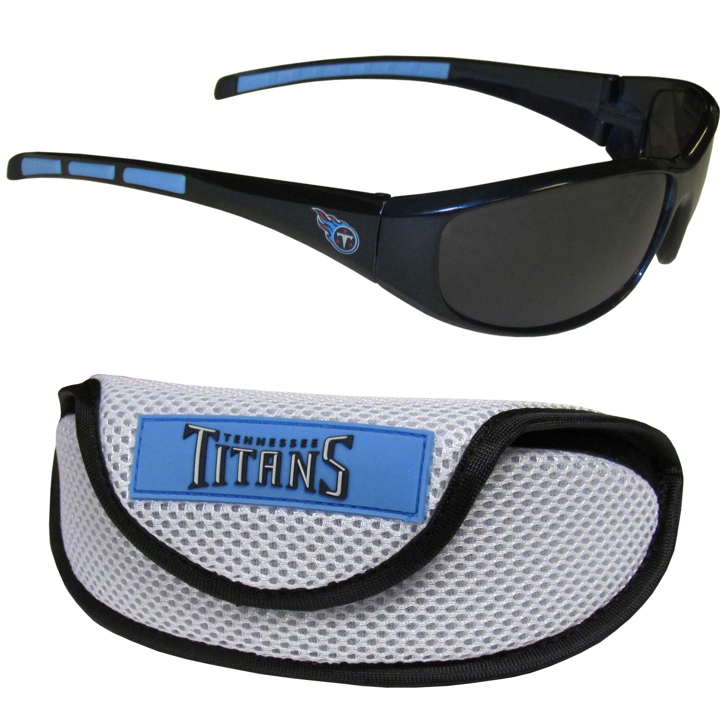 Tennessee Titans Wrap Sunglass and Case Set - This great set includes a high quality pair of Tennessee Titans wrap sunglasses and sport carrying case.