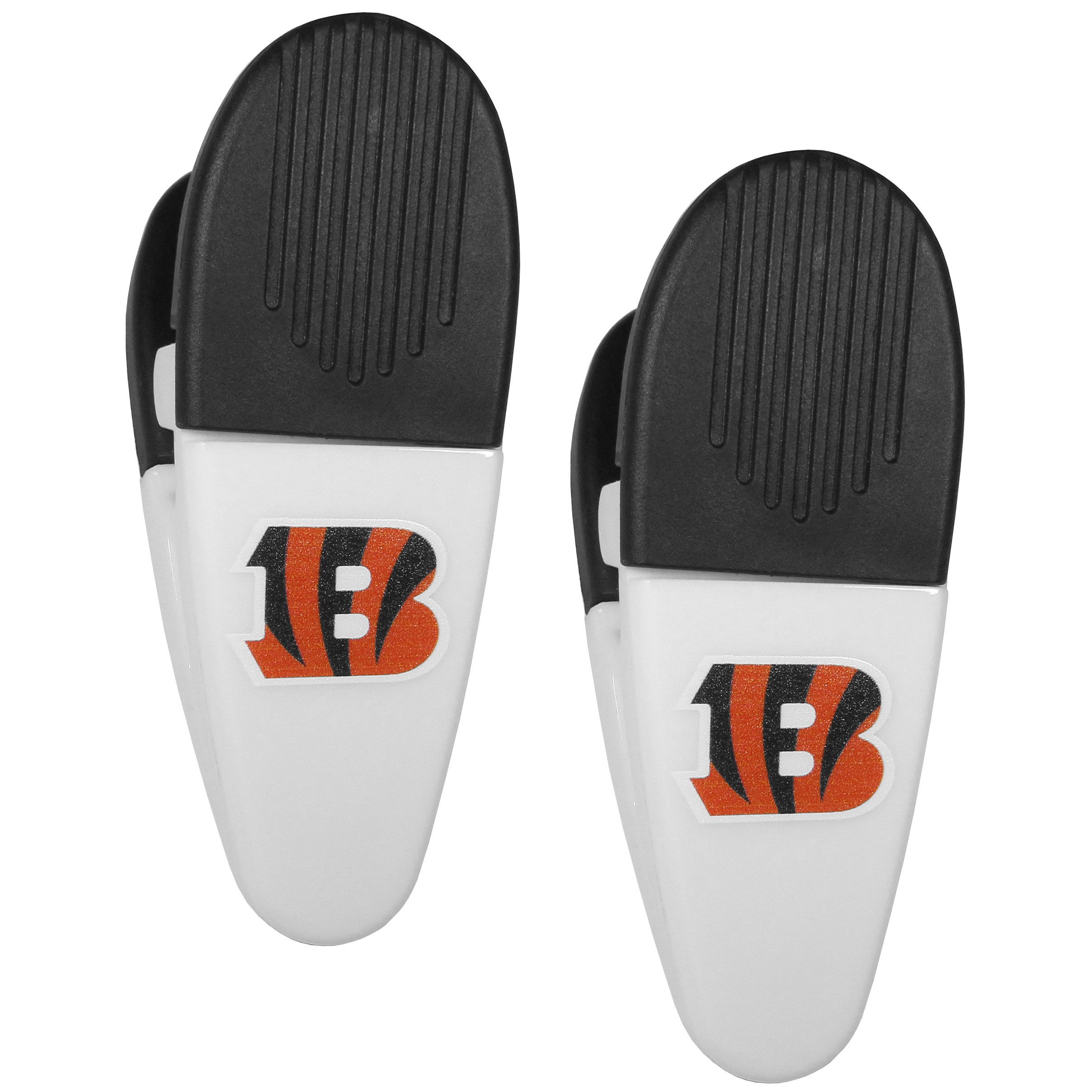 Cincinnati Bengals Mini Chip Clip Magnets, 2 pk - Our Cincinnati Bengals chip clip magnets feature a crisp team logo on the front of the clip. The clip is perfect for sealing chips for freshness and with the powerful magnet on the back it can be used to attach notes to the fridge or hanging your child's artwork. Set of 2 magnet clips, each clip is 3.5 inches tall and 1.25 inch wide.