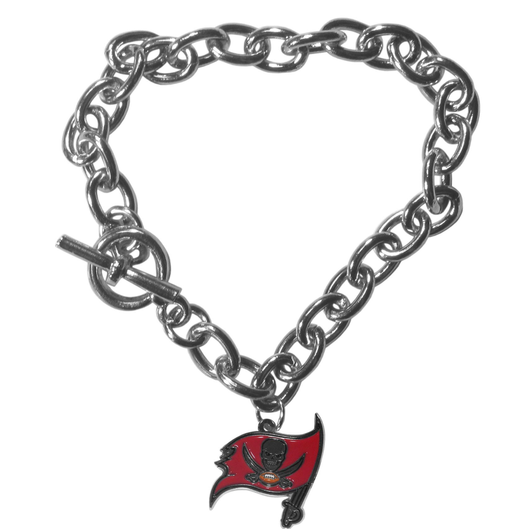 Tampa Bay Buccaneers Charm Chain Bracelet - Our classic single charm bracelet is a great way to show off your team pride! The 7.5 inch large link chain features a high polish Tampa Bay Buccaneers charm and features a toggle clasp which makes it super easy to take on and off.