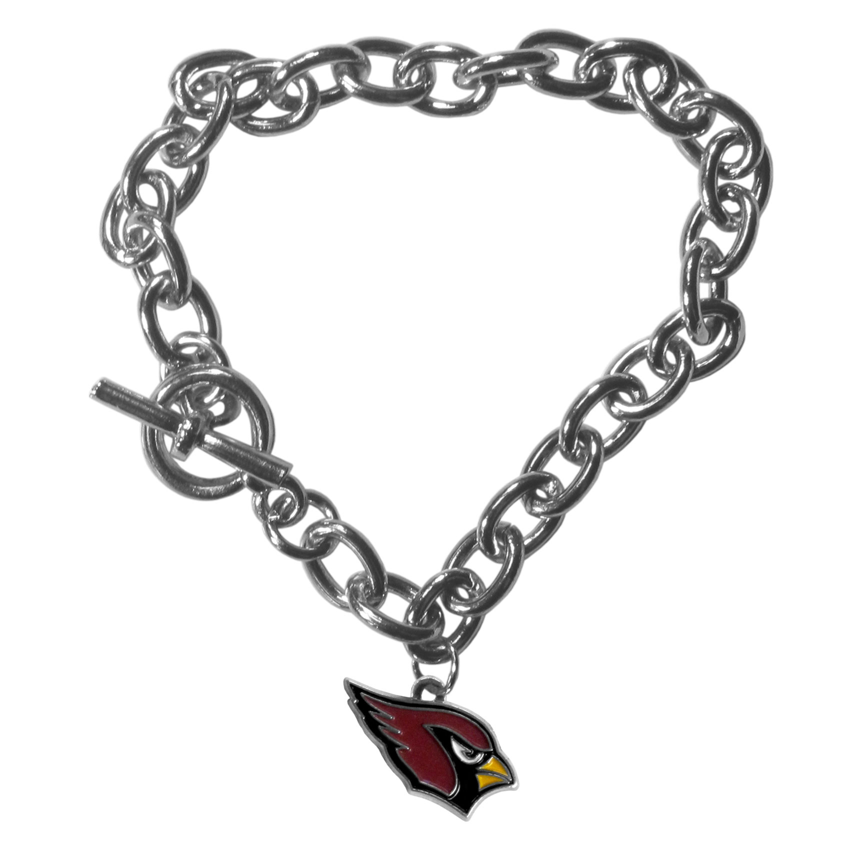 Arizona Cardinals Charm Chain Bracelets - Our classic single charm bracelet is a great way to show off your team pride! The 7.5 inch large link chain features a high polish Arizona Cardinals charm and features a toggle clasp which makes it super easy to take on and off. Officially licensed NFL product Licensee: Siskiyou Buckle Thank you for visiting CrazedOutSports.com