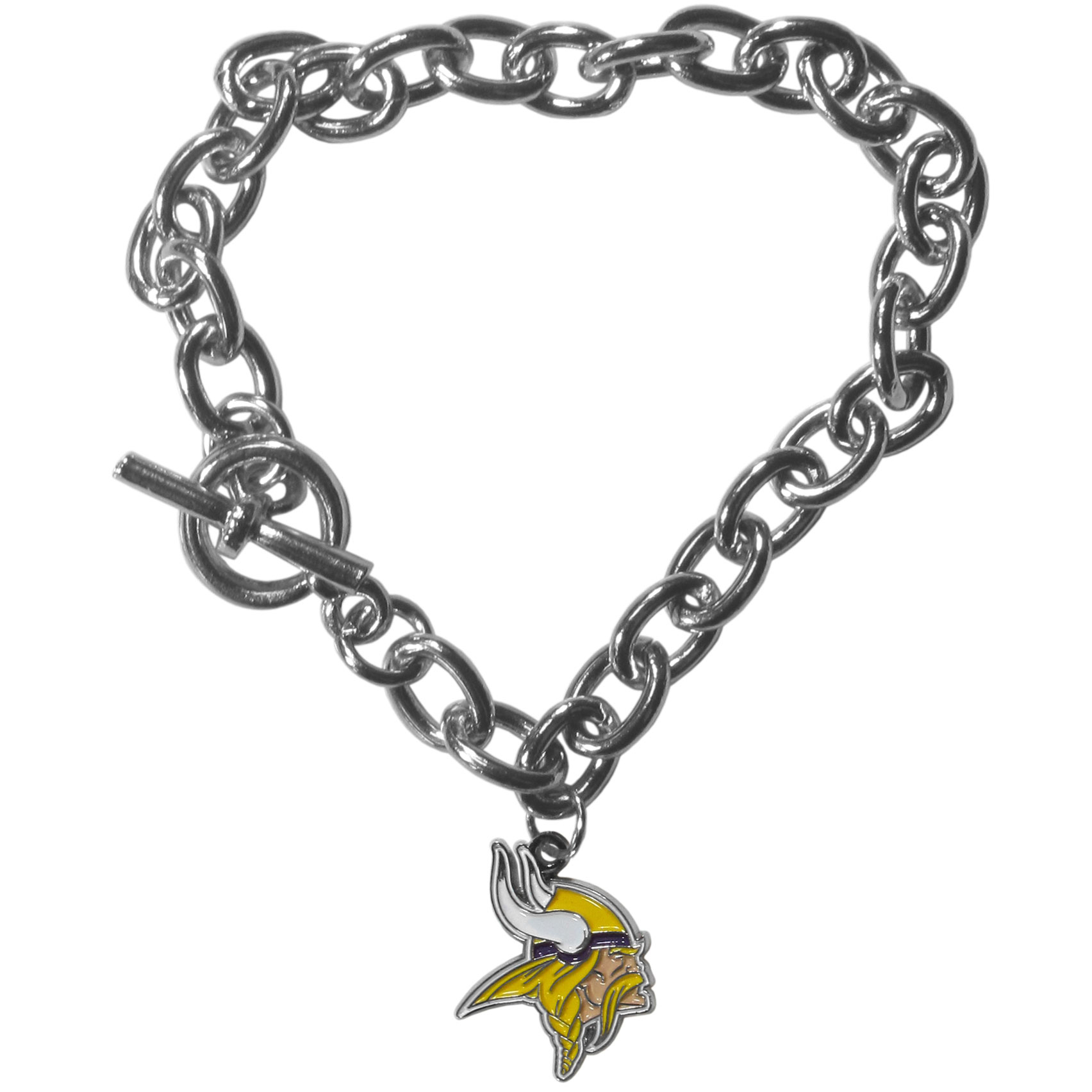 Minnesota Vikings Charm Chain Bracelets - Our classic single charm bracelet is a great way to show off your team pride! The 7.5 inch large link chain features a high polish Minnesota Vikings charm and features a toggle clasp which makes it super easy to take on and off. Officially licensed NFL product Licensee: Siskiyou Buckle .com