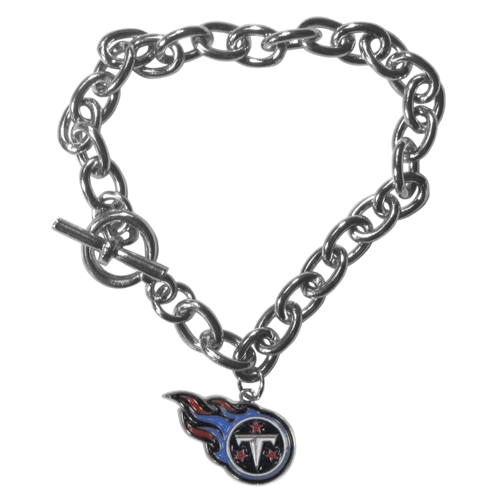 Tennessee Titans Charm Chain Bracelets - Our classic single charm bracelet is a great way to show off your team pride! The 7.5 inch large link chain features a high polish Tennessee Titans charm and features a toggle clasp which makes it super easy to take on and off. Officially licensed NFL product Licensee: Siskiyou Buckle .com