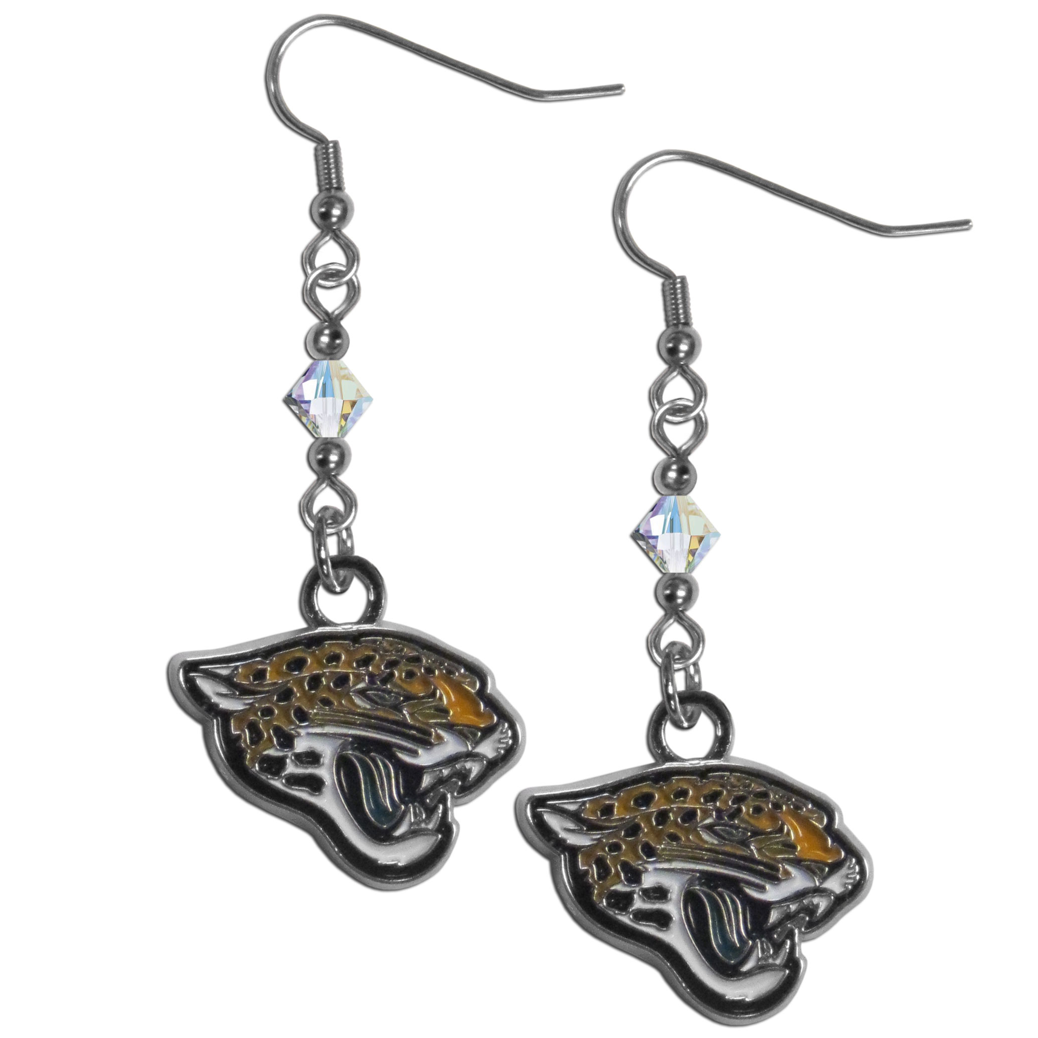Jacksonville Jaguars Chrome Dangle Earrings - Our NFL crystal dangle earrings are the perfect accessory for your game day outfit! The earrings are approximately 1.5 inches long and feature an iridescent crystal bead and nickel free chrome Jacksonville Jaguars charm on nickel free, hypoallergenic fishhook posts. Officially licensed NFL product Licensee: Siskiyou Buckle Thank you for visiting CrazedOutSports.com