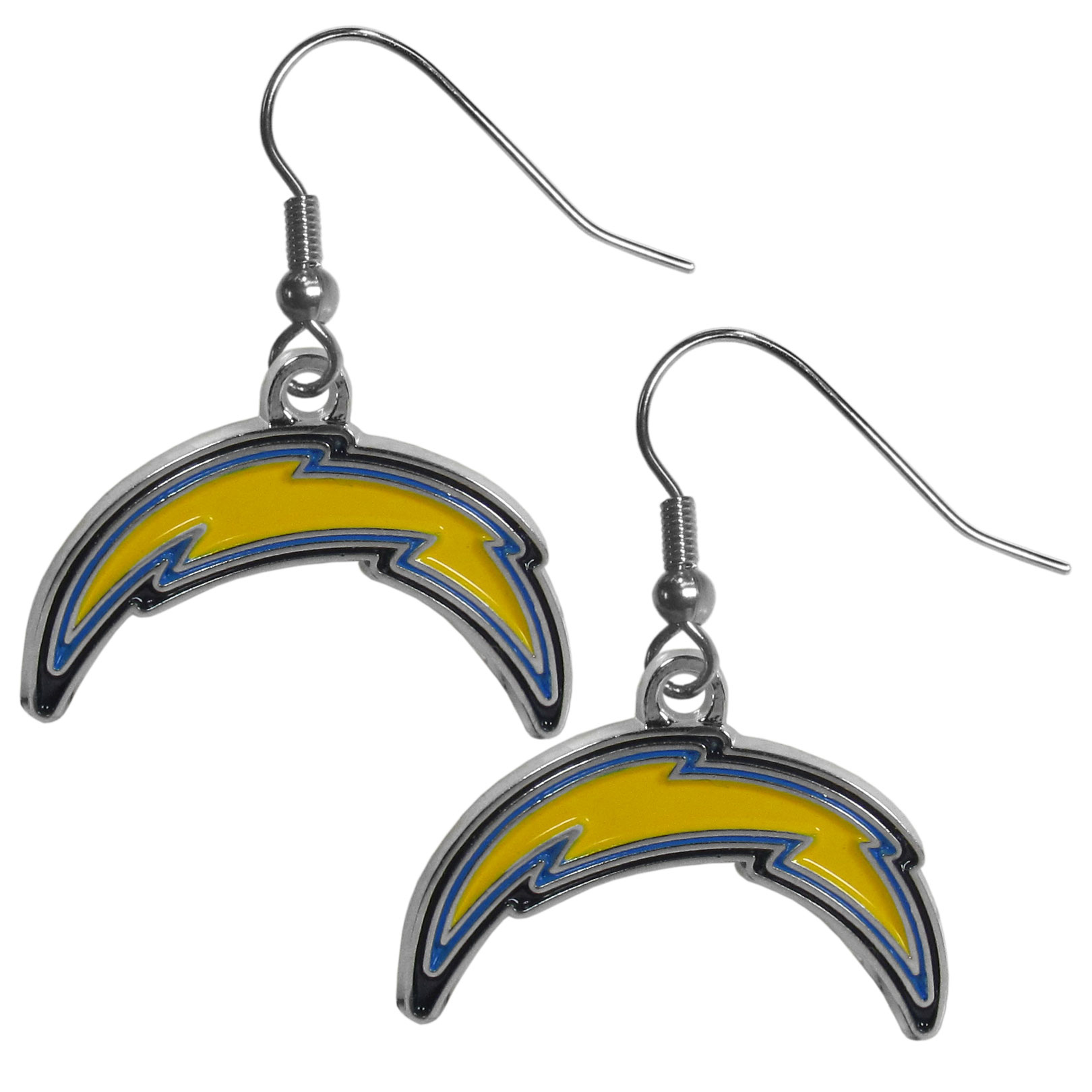 San Diego Chargers Chrome Dangle Earrings - Officially licensed NFL San Diego Chargers dangle earrings are fully cast with exceptional detail and a hand enameled finish. The San Diego Chargers earrings have a high polish nickel free chrome finish and hypoallergenic fishhook posts. Officially licensed NFL product Licensee: Siskiyou Buckle .com