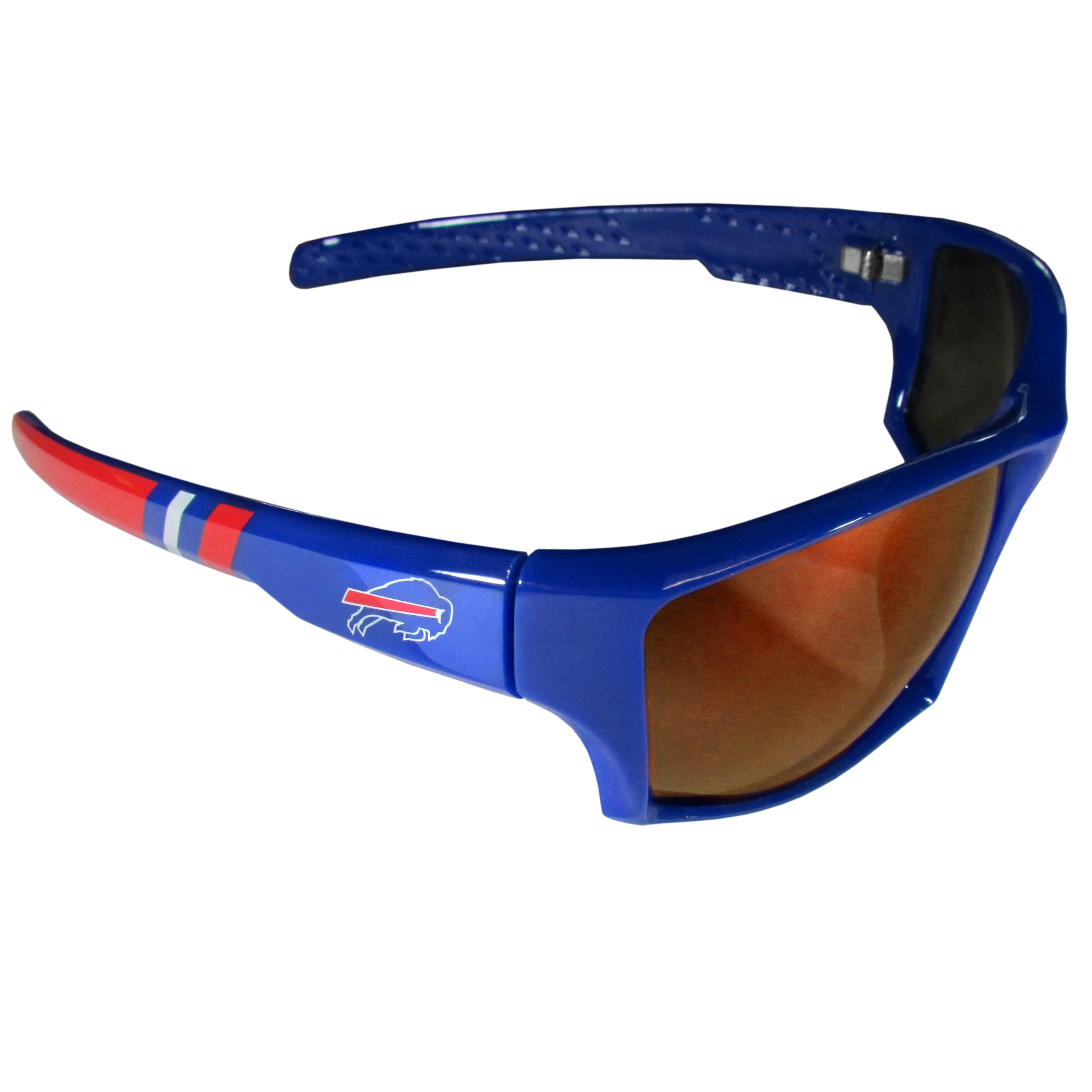 Buffalo Bills Edge Wrap Sunglasses - Be an icon of edgy style while you're in the stadium cheering your Buffalo Bills to victory with our polarized wrap sunglasses that feature 100% UVA/UVB rating for maximum UV protection. The light-weight frames are built to last with flex hinges for comfort and durability which make them perfect for driving or just lounging by the pool. The colorful rubber grips on the arms of these fashionable sunglasses make them perfect for someone with an active lifestyle. Whether you are hiking, fishing, boating, running on the beach, golfing or playing your favorite sport these designer frames will set you apart. Our edge wrap sunglasses are true quality eyewear at an affordable price. The wrap style frames come with team colored stripes and team logos so you can show off your die-hard team pride while protecting your eyes from those bright sun rays.