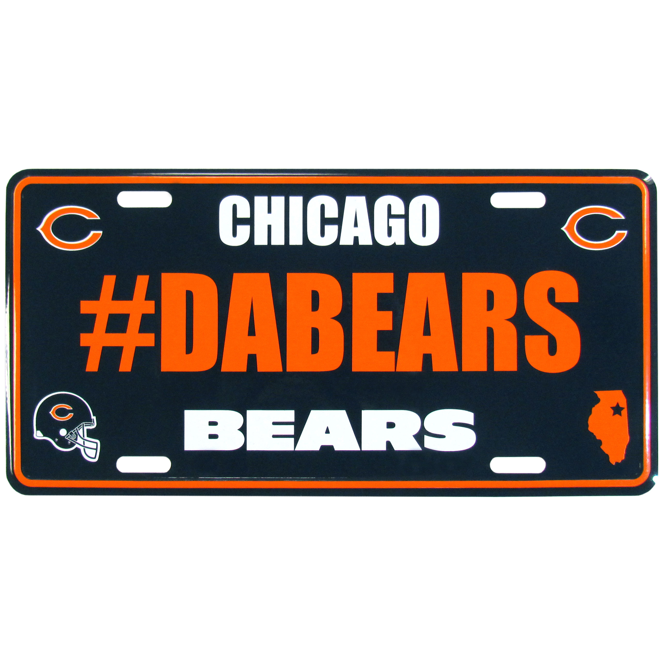 Chicago Bears Hashtag License Plate - It's a hashtag world! Celebrate the Chicago Bears with this stamped aluminum license plate with the most popular team hashtag! This bright license plate will look great on your vehicle or mounted in your fan cave.