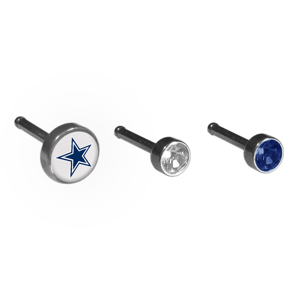 Dallas Cowboys Nose Bone Stud Set of 3 - High quality surgical steel nose bone set with 3 nose rings to choose from one of them featuring a Dallas Cowboys logo. Perfect for the die-hard fan!