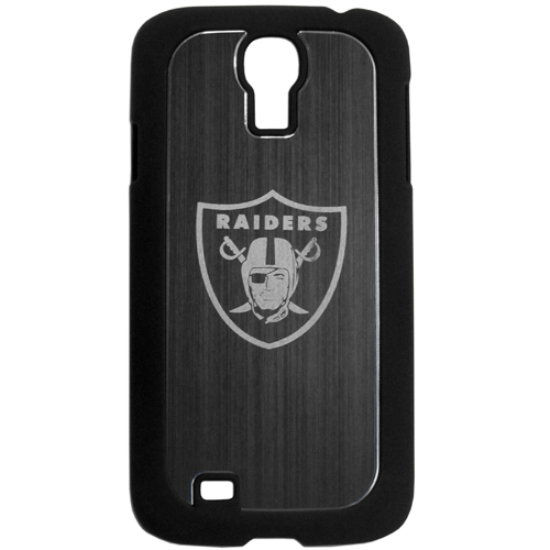 Oakland Raiders Etched Samsung Galaxy S4 Case - This ultra cool hard shell snap on case provides great protection for the phone while the soft rubber finish adds to your grip to help prevent dropping the phone. This stylish case is finished off with a brushed metal team plate with laser etched team logo. Officially licensed NFL product Licensee: Siskiyou Buckle Thank you for visiting CrazedOutSports.com