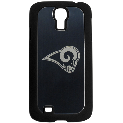 St. Louis Rams Etched Samsung Galaxy S4 Case - This ultra cool hard shell snap on case provides great protection for the phone while the soft rubber finish adds to your grip to help prevent dropping the phone. This stylish case is finished off with a brushed metal team plate with laser etched team logo. Officially licensed NFL product Licensee: Siskiyou Buckle .com
