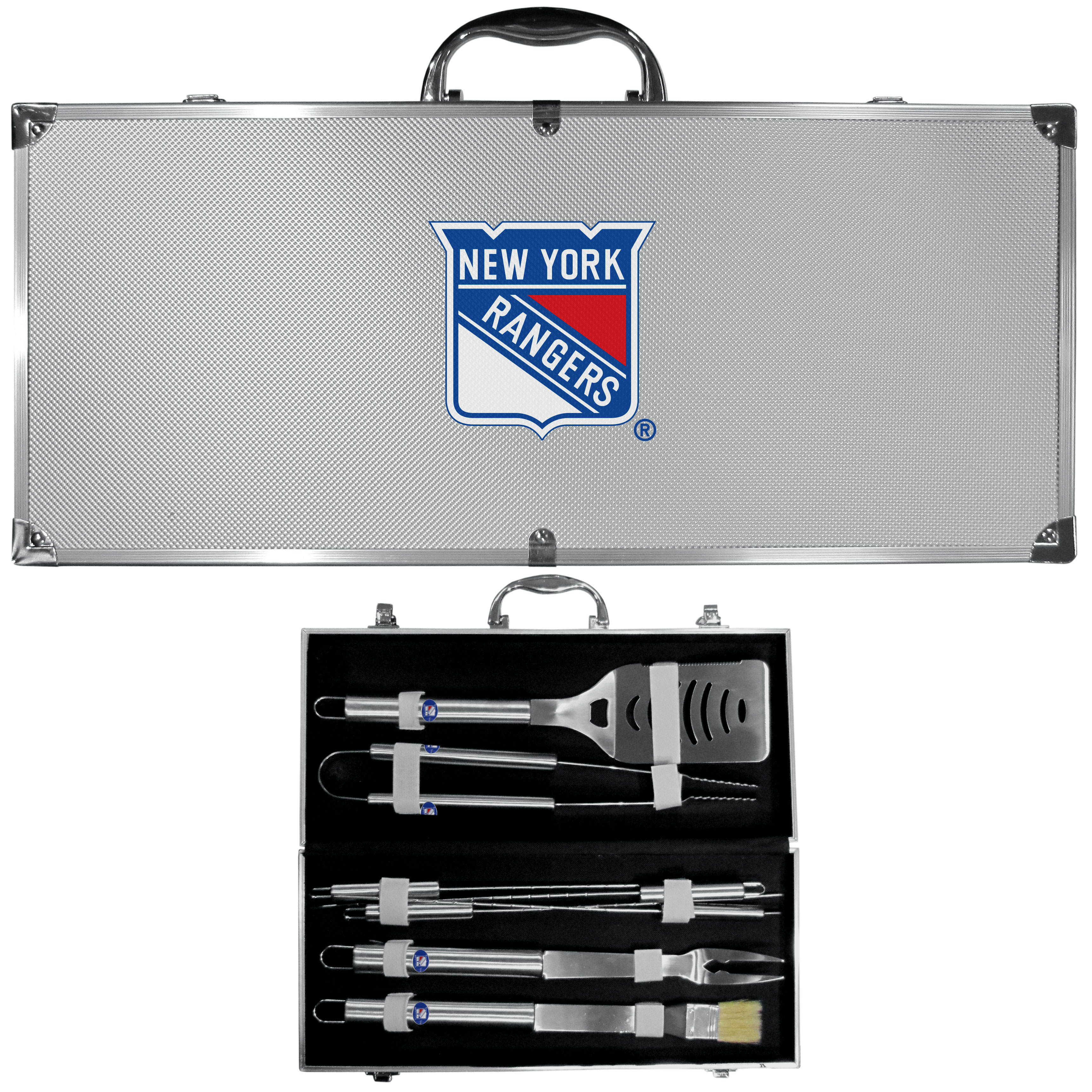 New York Rangers® 8 pc Stainless Steel BBQ Set w/Metal Case - This is the ultimate New York Rangers® tailgate accessory! The high quality, 420 grade stainless steel tools are durable and well-made enough to make even the pickiest grill master smile. This complete grill accessory kit includes; 4 skewers, spatula with bottle opener and serrated knife edge, basting brush, tongs and a fork. The 18 inch metal carrying case makes this a great outdoor kit making grilling an ease while camping, tailgating or while having a game day party on your patio. The tools are 17 inches long and feature a metal team emblem. The metal case features a large, metal team emblem with exceptional detail. This high-end men's gift is sure to be a hit as a present on Father's Day or Christmas.