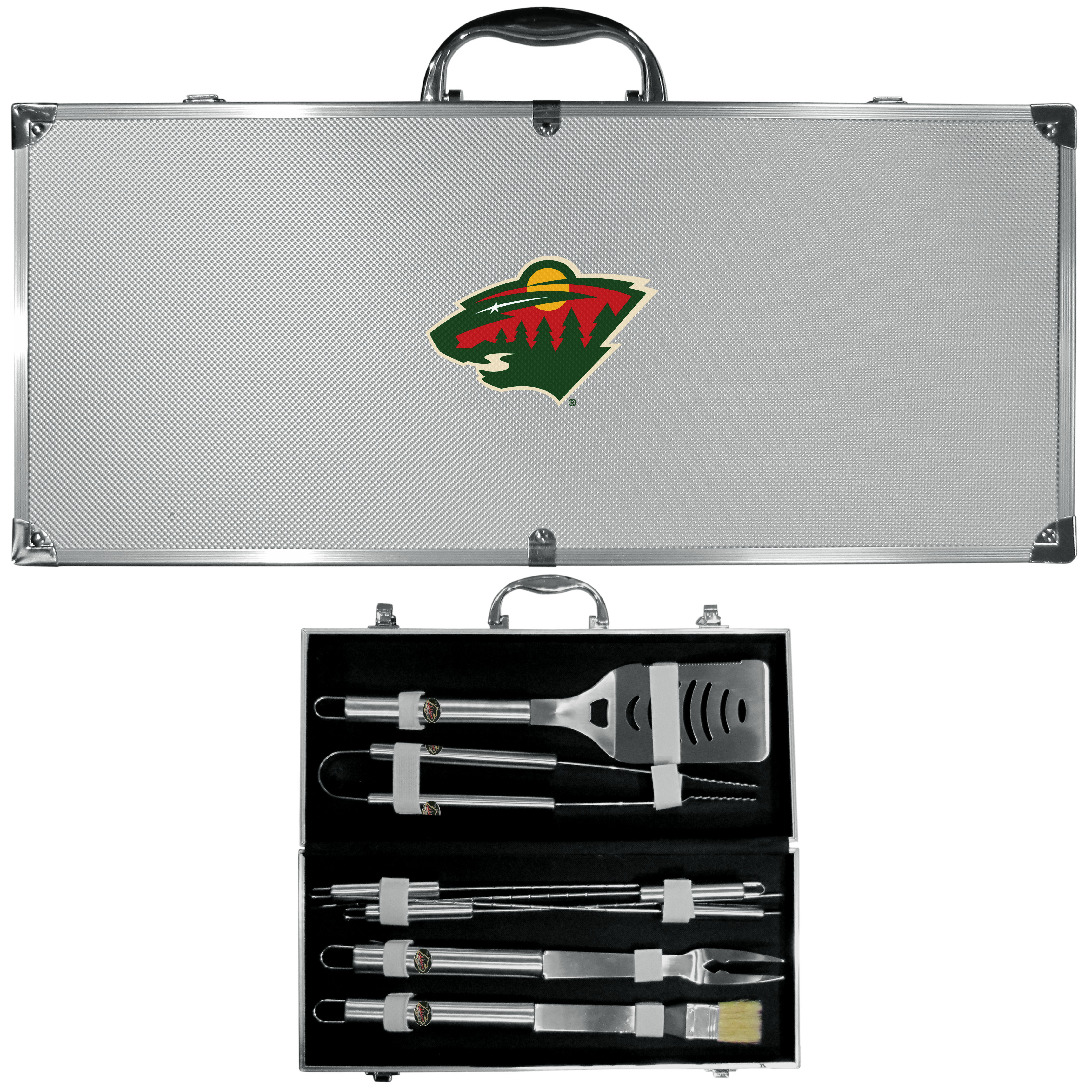 Minnesota Wild® 8 pc Stainless Steel BBQ Set w/Metal Case - This is the ultimate Minnesota Wild® tailgate accessory! The high quality, 420 grade stainless steel tools are durable and well-made enough to make even the pickiest grill master smile. This complete grill accessory kit includes; 4 skewers, spatula with bottle opener and serrated knife edge, basting brush, tongs and a fork. The 18 inch metal carrying case makes this a great outdoor kit making grilling an ease while camping, tailgating or while having a game day party on your patio. The tools are 17 inches long and feature a metal team emblem. The metal case features a large, metal team emblem with exceptional detail. This high-end men's gift is sure to be a hit as a present on Father's Day or Christmas.