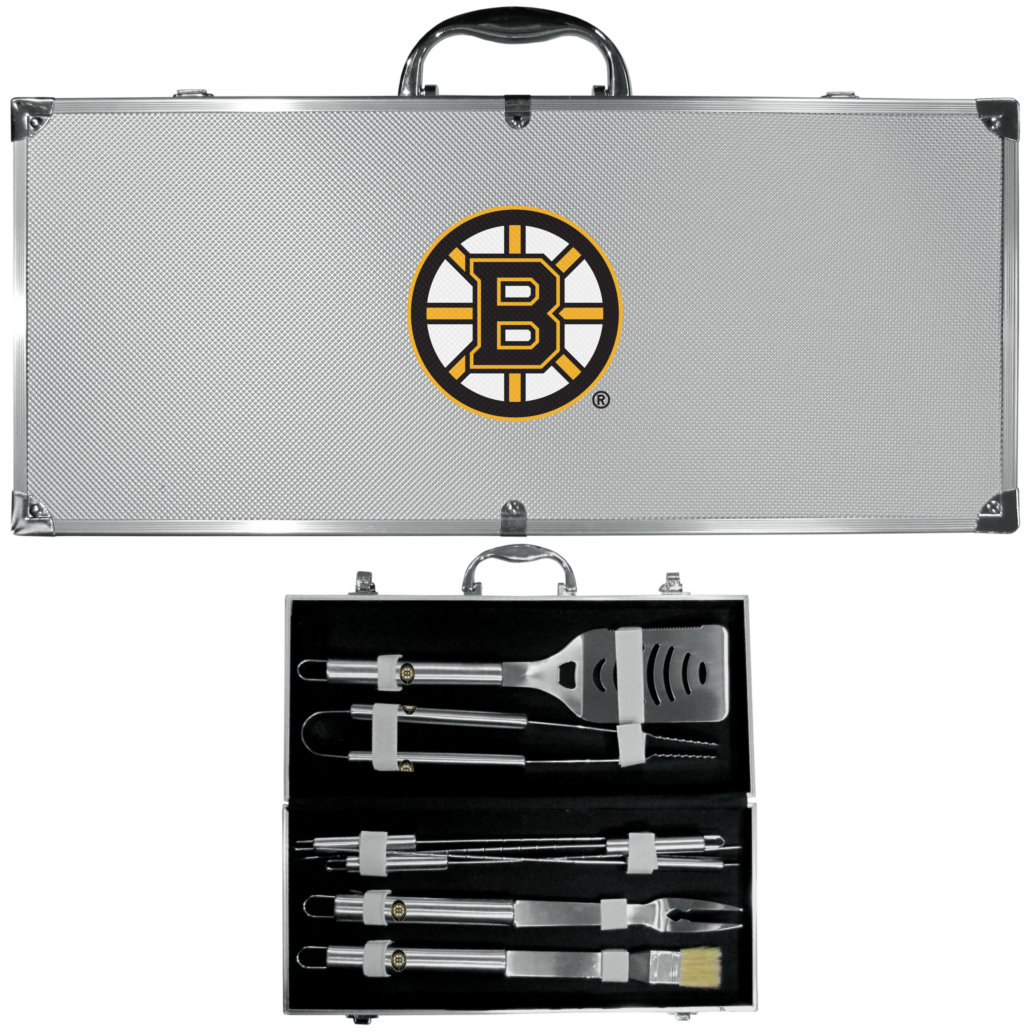 Boston Bruins® 8 pc Stainless Steel BBQ Set w/Metal Case - This is the ultimate Boston Bruins® tailgate accessory! The high quality, 420 grade stainless steel tools are durable and well-made enough to make even the pickiest grill master smile. This complete grill accessory kit includes; 4 skewers, spatula with bottle opener and serrated knife edge, basting brush, tongs and a fork. The 18 inch metal carrying case makes this a great outdoor kit making grilling an ease while camping, tailgating or while having a game day party on your patio. The tools are 17 inches long and feature a metal team emblem. The metal case features a large, metal team emblem with exceptional detail. This high-end men's gift is sure to be a hit as a present on Father's Day or Christmas.