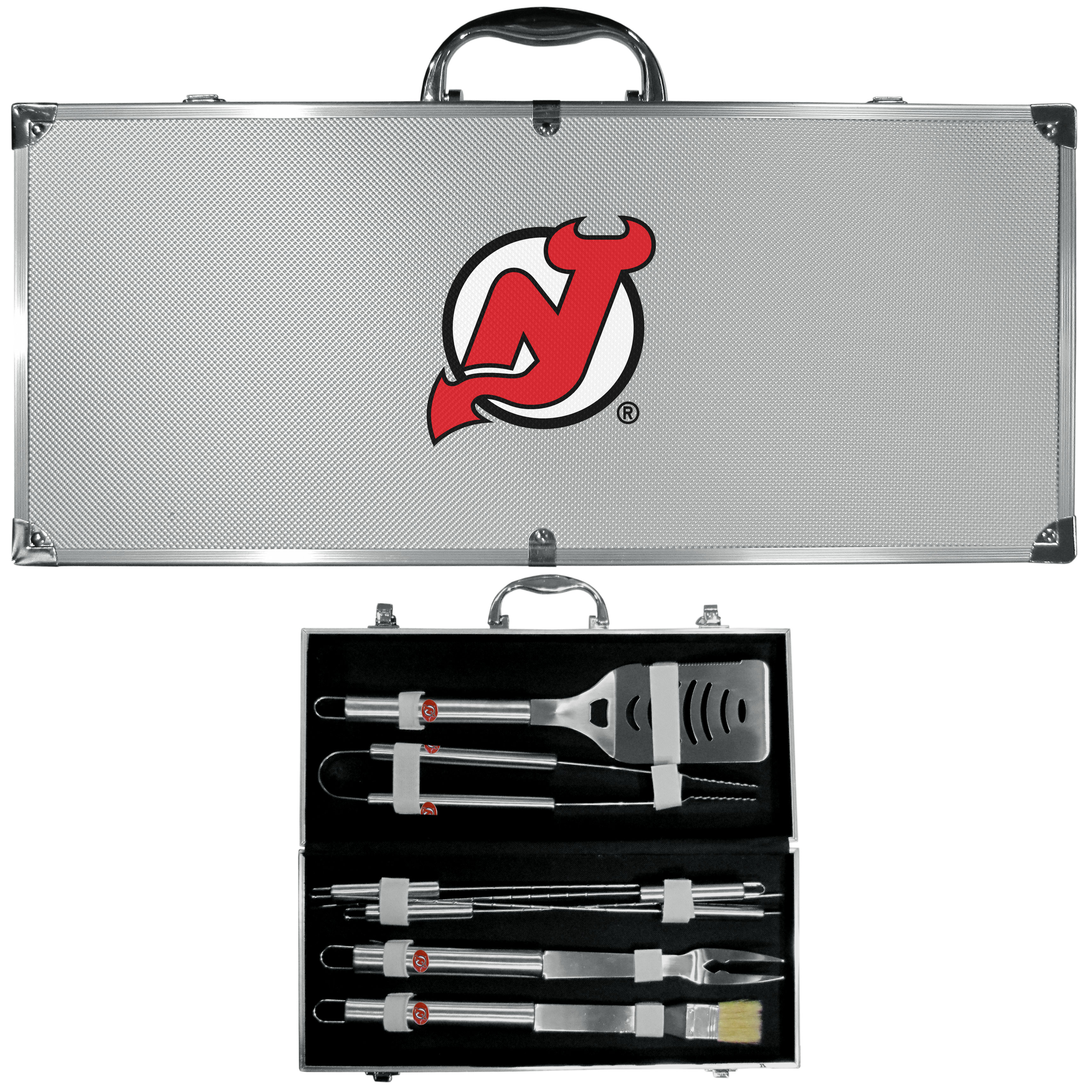 New Jersey Devils® 8 pc Stainless Steel BBQ Set w/Metal Case - This is the ultimate New Jersey Devils® tailgate accessory! The high quality, 420 grade stainless steel tools are durable and well-made enough to make even the pickiest grill master smile. This complete grill accessory kit includes; 4 skewers, spatula with bottle opener and serrated knife edge, basting brush, tongs and a fork. The 18 inch metal carrying case makes this a great outdoor kit making grilling an ease while camping, tailgating or while having a game day party on your patio. The tools are 17 inches long and feature a metal team emblem. The metal case features a large, metal team emblem with exceptional detail. This high-end men's gift is sure to be a hit as a present on Father's Day or Christmas.