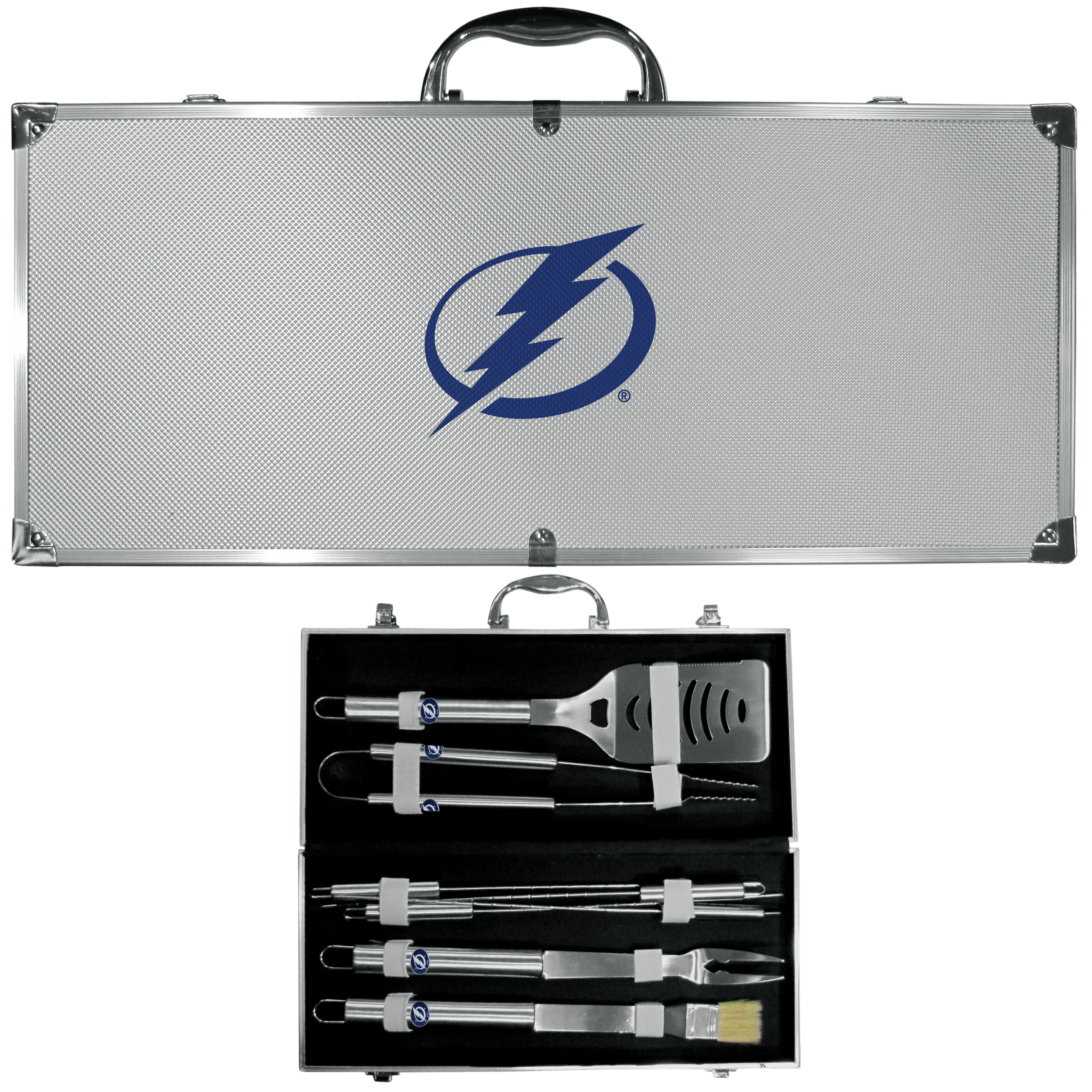 Tampa Bay Lightning® 8 pc Stainless Steel BBQ Set w/Metal Case - This is the ultimate Tampa Bay Lightning® tailgate accessory! The high quality, 420 grade stainless steel tools are durable and well-made enough to make even the pickiest grill master smile. This complete grill accessory kit includes; 4 skewers, spatula with bottle opener and serrated knife edge, basting brush, tongs and a fork. The 18 inch metal carrying case makes this a great outdoor kit making grilling an ease while camping, tailgating or while having a game day party on your patio. The tools are 17 inches long and feature a metal team emblem. The metal case features a large, metal team emblem with exceptional detail. This high-end men's gift is sure to be a hit as a present on Father's Day or Christmas.