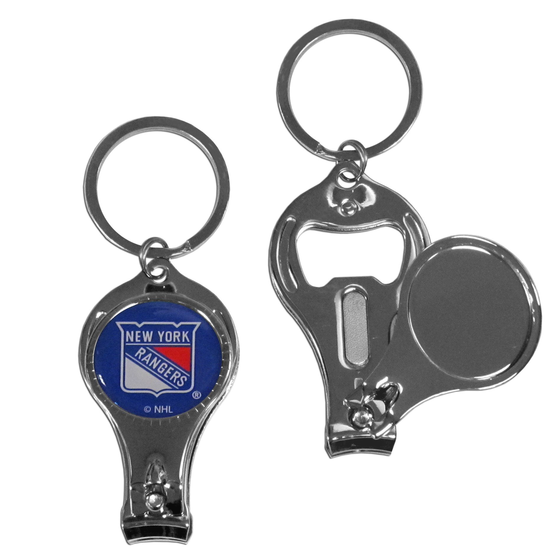 New York Rangers Nail Care Key Chain - This unique NHL New York Rangers Nail Care Key Chain has 3 great functions! The New York Rangers Nail Care Key Chain opens to become a nail clipper, when open you can access the nail file pad plus the New York Rangers key chain also has a bottle opener. This New York Rangers Nail Care Key Chain features a New York Rangers domed logo. Thank you for visiting CrazedOutSports