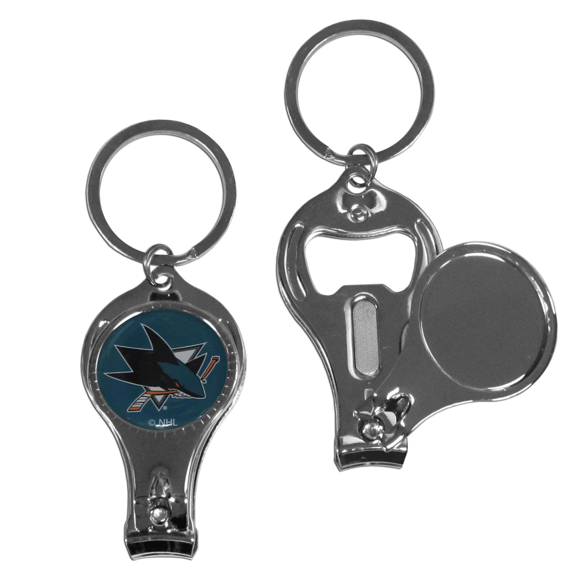 San Jose Sharks Nail Care Key Chain - This unique NHL San Jose Sharks Nail Care Key Chain has 3 great functions! The San Jose Sharks Nail Care Key Chain opens to become a nail clipper, when open you can access the nail file pad plus the San Jose Sharks key chain also has a bottle opener. This versatile San Jose Sharks Nail Care Key Chain features a San Jose Sharks domed logo.