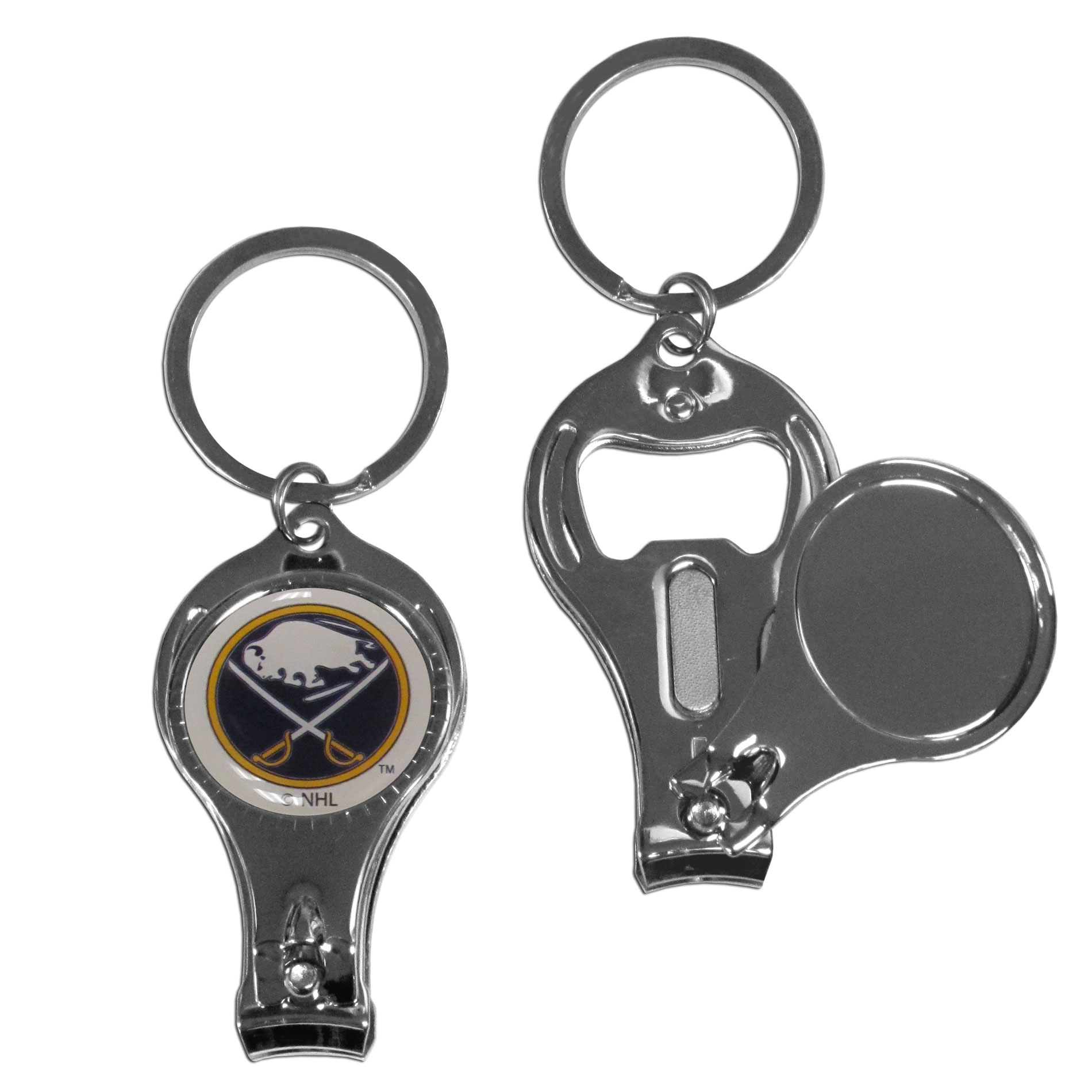Buffalo Sabres Nail Care Key Chain - This unique NHL Buffalo Sabres Nail Care Key Chain has 3 great functions! The Buffalo Sabres Nail Care Key Chain opens to become a nail clipper, when open you can access the nail file pad plus the Buffalo Sabres key chain also has a bottle opener. This Buffalo Sabres Nail Care Key Chain features a Buffalo Sabres domed logo. Thank you for visiting CrazedOutSports