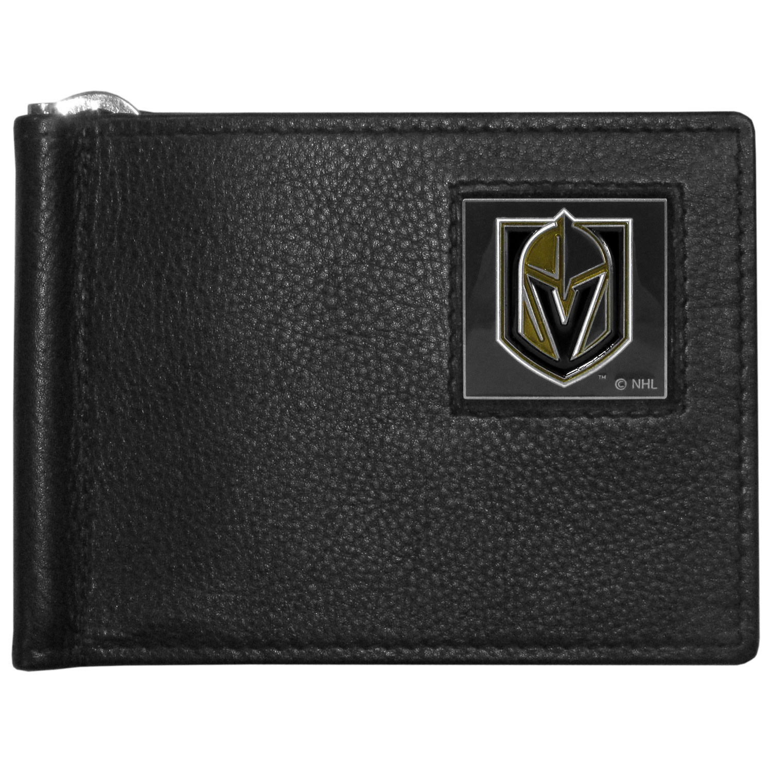 Vegas Golden Knights® Leather Bill Clip Wallet - This cool new style wallet features an inner, metal bill clip that lips up for easy access. The super slim wallet holds tons of stuff with ample pockets, credit card slots & windowed ID slot.  The wallet is made of genuine fine grain leather and it finished with a metal Vegas Golden Knights® emblem. The wallet is shipped in gift box packaging.
