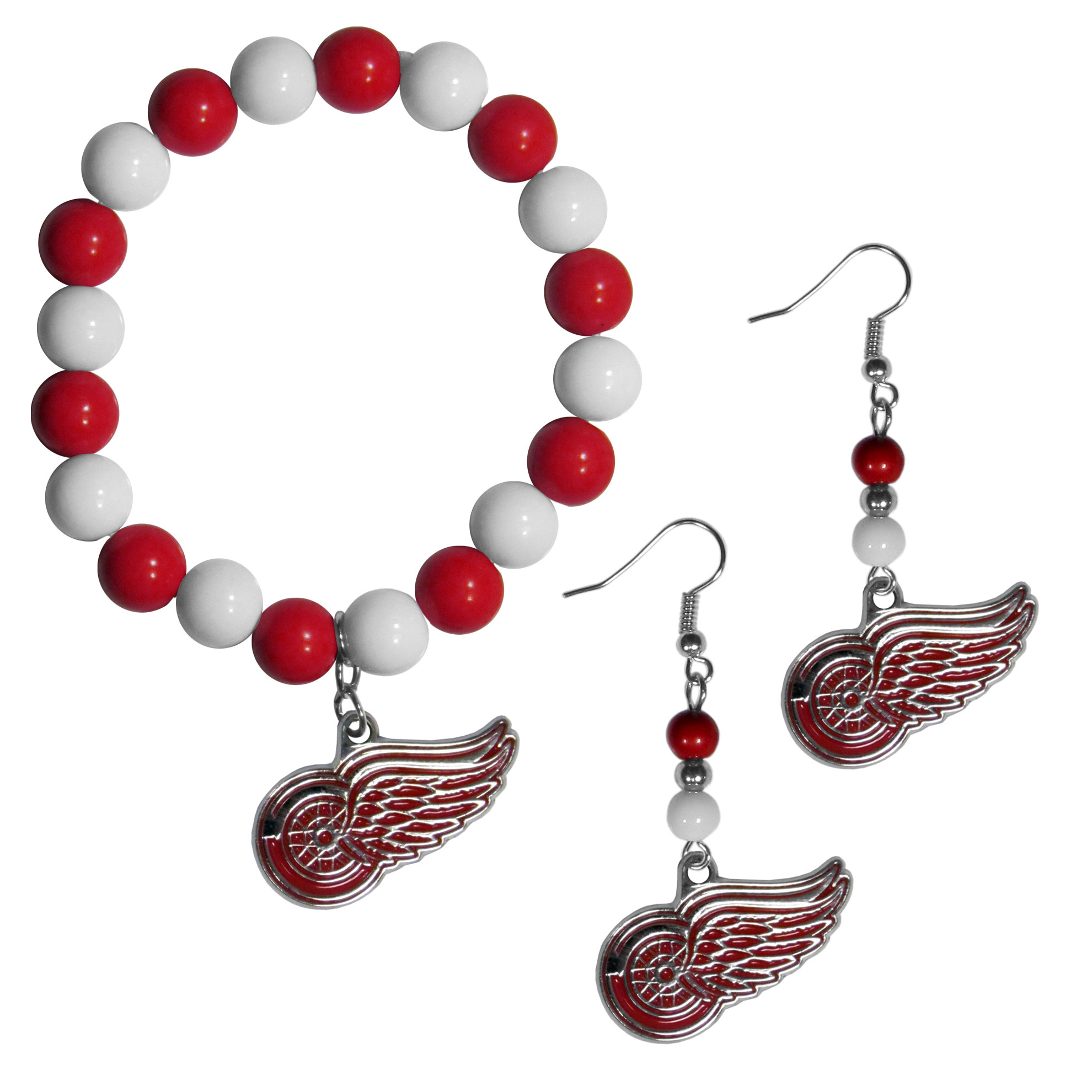 Detroit Red Wings® Fan Bead Earrings and Bracelet Set - This fun and colorful Detroit Red Wings® fan bead jewelry set is fun and casual with eye-catching beads in bright team colors. The fashionable dangle earrings feature a team colored beads that drop down to a carved and enameled charm. The stretch bracelet has larger matching beads that make a striking statement and have a matching team charm. These sassy yet sporty jewelry pieces make a perfect gift for any female fan. Spice up your game-day outfit with these fun colorful earrings and bracelet that are also cute enough for any day.