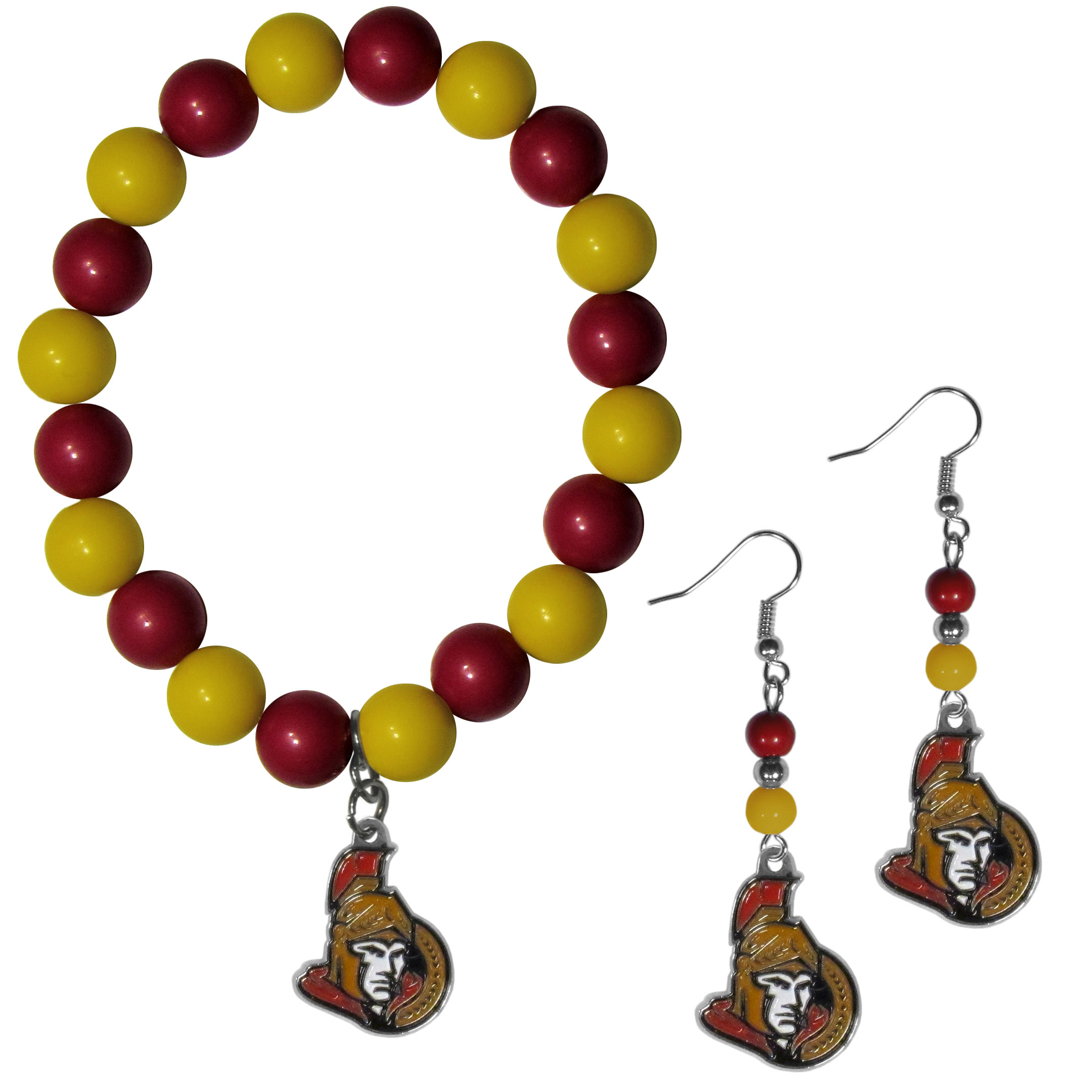 Ottawa Senators® Fan Bead Earrings and Bracelet Set - This fun and colorful Ottawa Senators® fan bead jewelry set is fun and casual with eye-catching beads in bright team colors. The fashionable dangle earrings feature a team colored beads that drop down to a carved and enameled charm. The stretch bracelet has larger matching beads that make a striking statement and have a matching team charm. These sassy yet sporty jewelry pieces make a perfect gift for any female fan. Spice up your game-day outfit with these fun colorful earrings and bracelet that are also cute enough for any day.