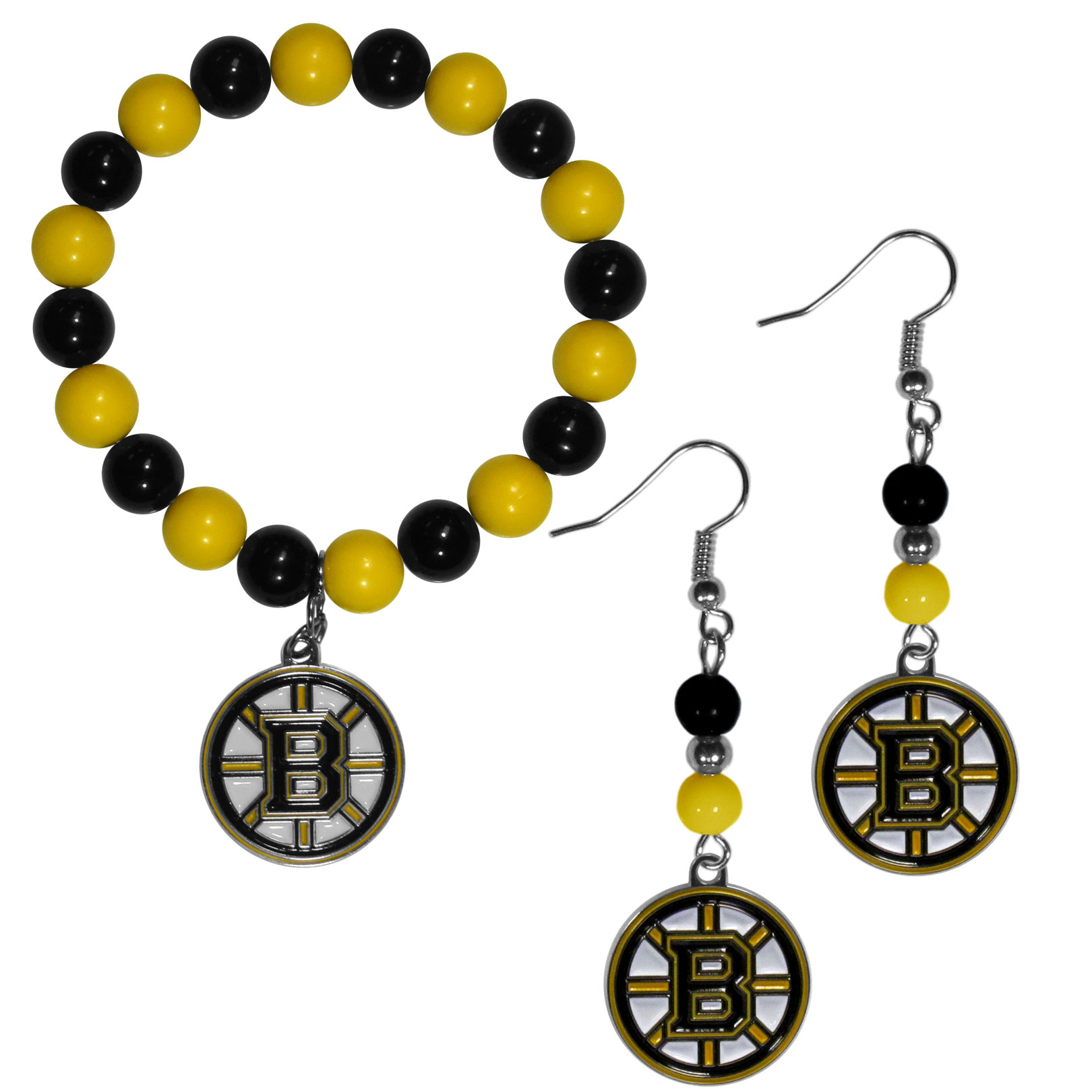 Boston Bruins® Fan Bead Earrings and Bracelet Set - This fun and colorful Boston Bruins® fan bead jewelry set is fun and casual with eye-catching beads in bright team colors. The fashionable dangle earrings feature a team colored beads that drop down to a carved and enameled charm. The stretch bracelet has larger matching beads that make a striking statement and have a matching team charm. These sassy yet sporty jewelry pieces make a perfect gift for any female fan. Spice up your game-day outfit with these fun colorful earrings and bracelet that are also cute enough for any day.