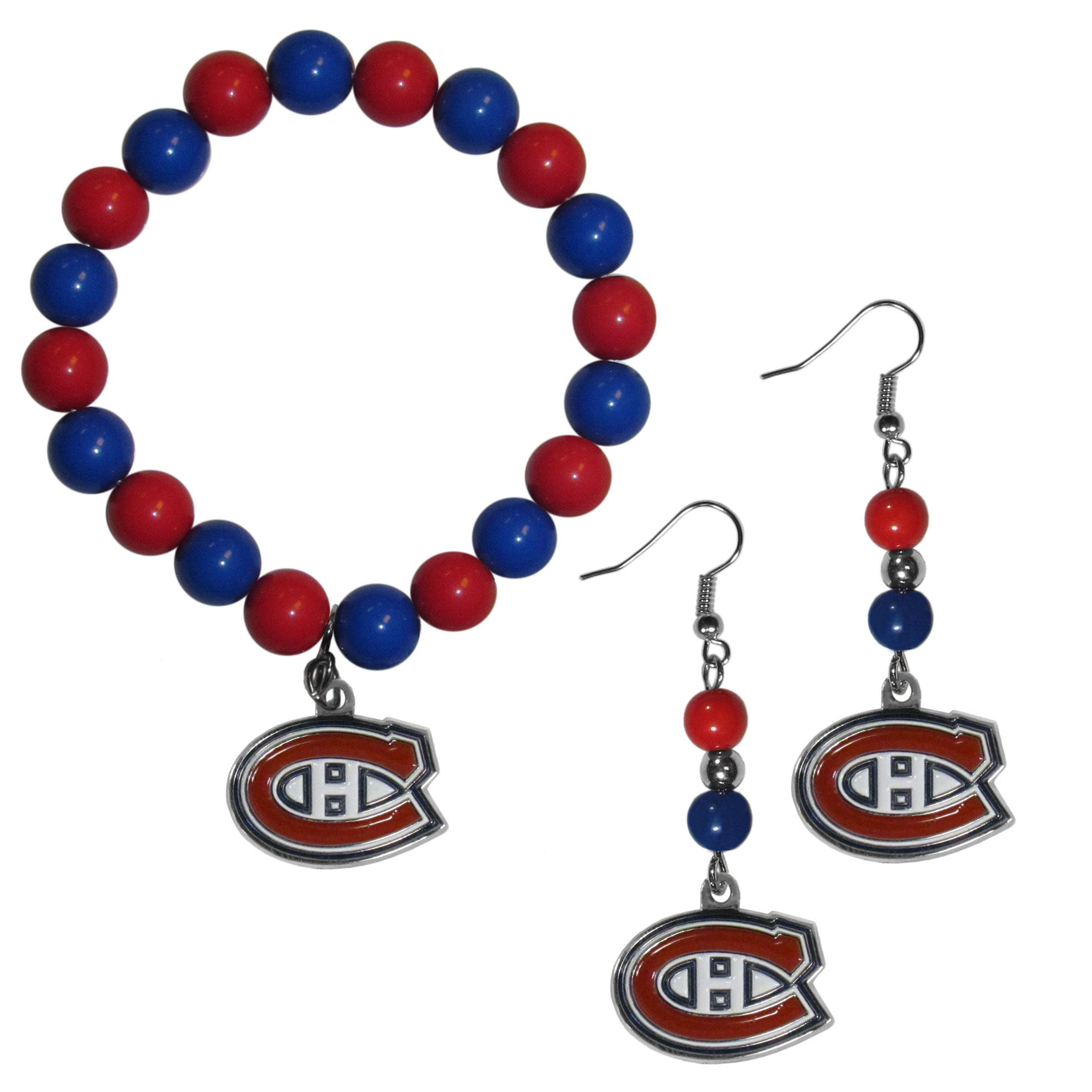 Montreal Canadiens® Fan Bead Earrings and Bracelet Set - This fun and colorful Montreal Canadiens® fan bead jewelry set is fun and casual with eye-catching beads in bright team colors. The fashionable dangle earrings feature a team colored beads that drop down to a carved and enameled charm. The stretch bracelet has larger matching beads that make a striking statement and have a matching team charm. These sassy yet sporty jewelry pieces make a perfect gift for any female fan. Spice up your game-day outfit with these fun colorful earrings and bracelet that are also cute enough for any day.