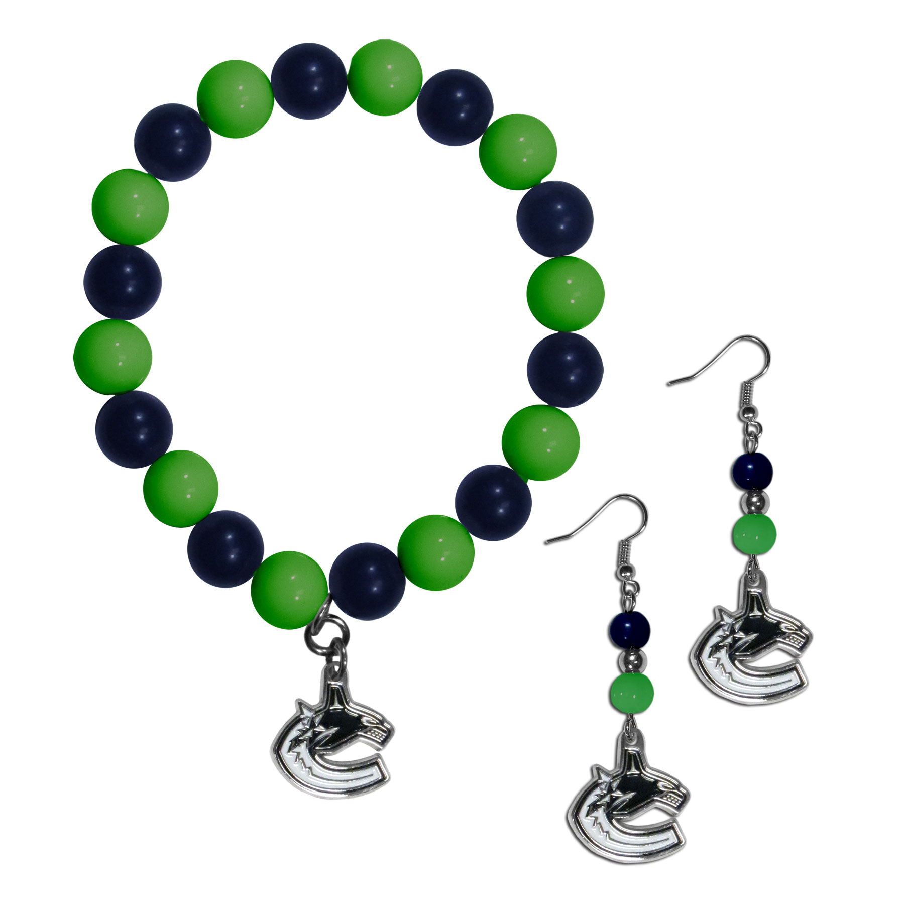 Vancouver Canucks® Fan Bead Earrings and Bracelet Set - This fun and colorful Vancouver Canucks® fan bead jewelry set is fun and casual with eye-catching beads in bright team colors. The fashionable dangle earrings feature a team colored beads that drop down to a carved and enameled charm. The stretch bracelet has larger matching beads that make a striking statement and have a matching team charm. These sassy yet sporty jewelry pieces make a perfect gift for any female fan. Spice up your game-day outfit with these fun colorful earrings and bracelet that are also cute enough for any day.