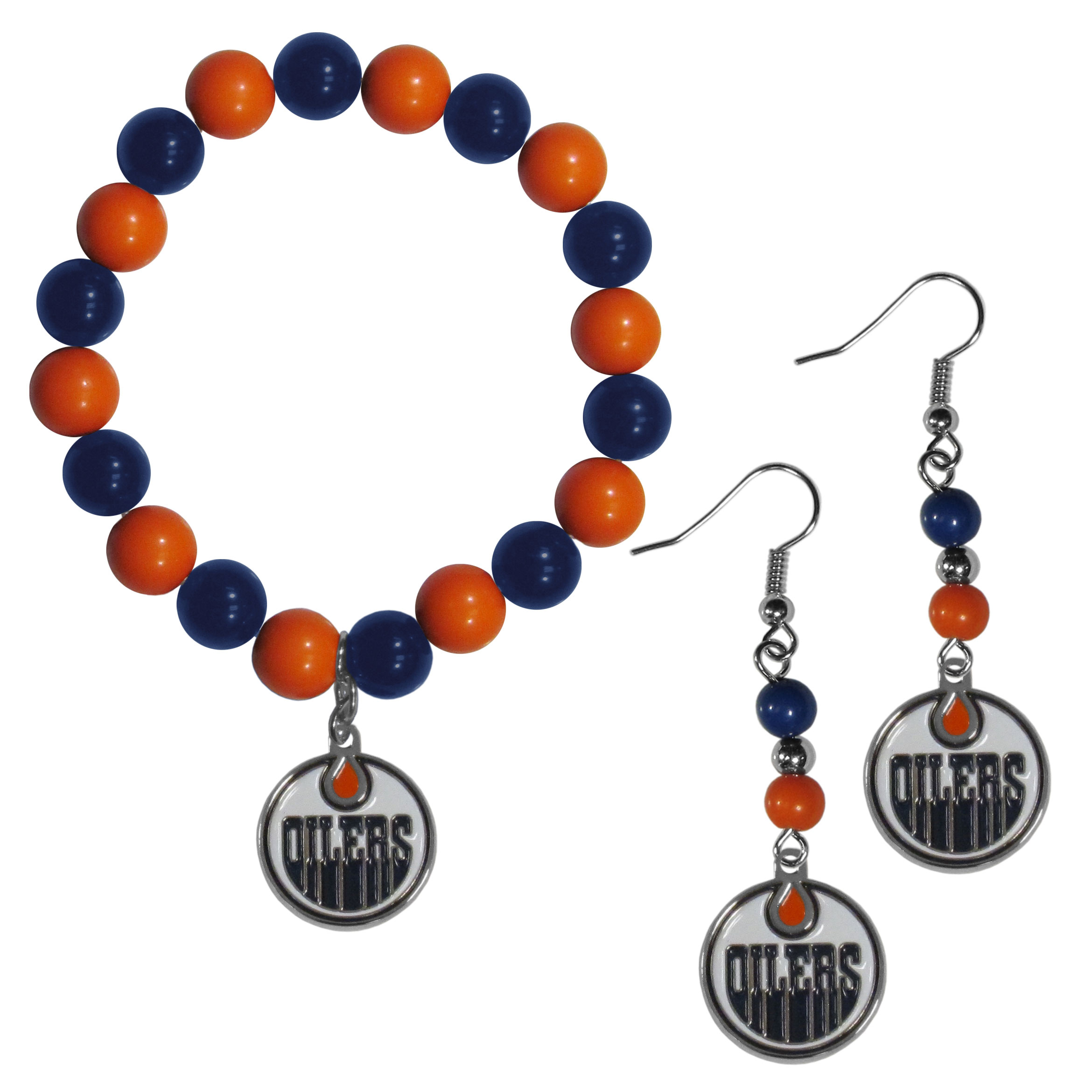 Edmonton Oilers® Fan Bead Earrings and Bracelet Set - This fun and colorful Edmonton Oilers® fan bead jewelry set is fun and casual with eye-catching beads in bright team colors. The fashionable dangle earrings feature a team colored beads that drop down to a carved and enameled charm. The stretch bracelet has larger matching beads that make a striking statement and have a matching team charm. These sassy yet sporty jewelry pieces make a perfect gift for any female fan. Spice up your game-day outfit with these fun colorful earrings and bracelet that are also cute enough for any day.
