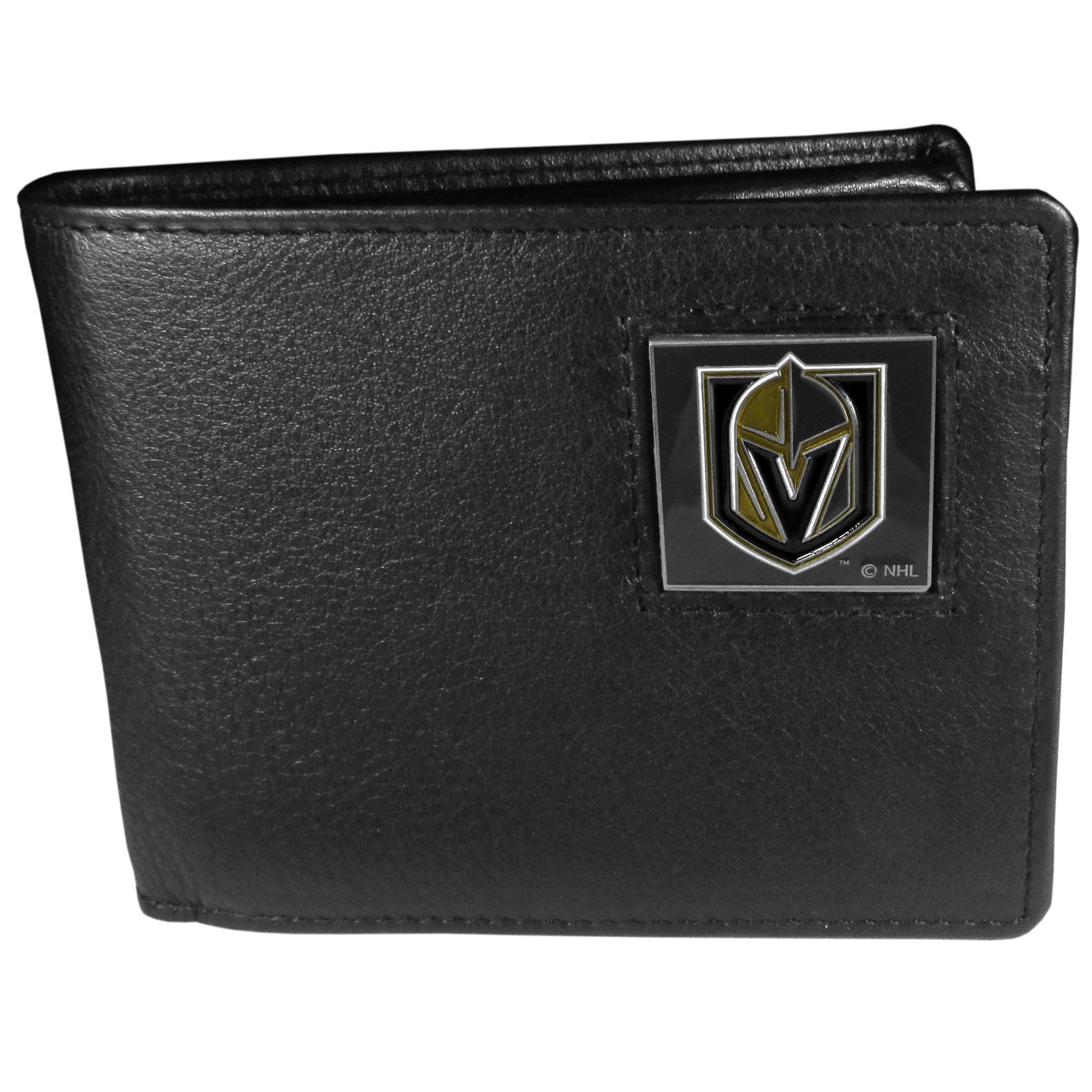 Las Vegas Golden Knights® Leather Bi-fold Wallet - Our officially licensed fine grain leather bi-fold wallet features numerous card slots, large billfold pocket and flip up window ID slot. This quality wallet has an enameled Las Vegas Golden Knights® emblem on the front of the wallet.