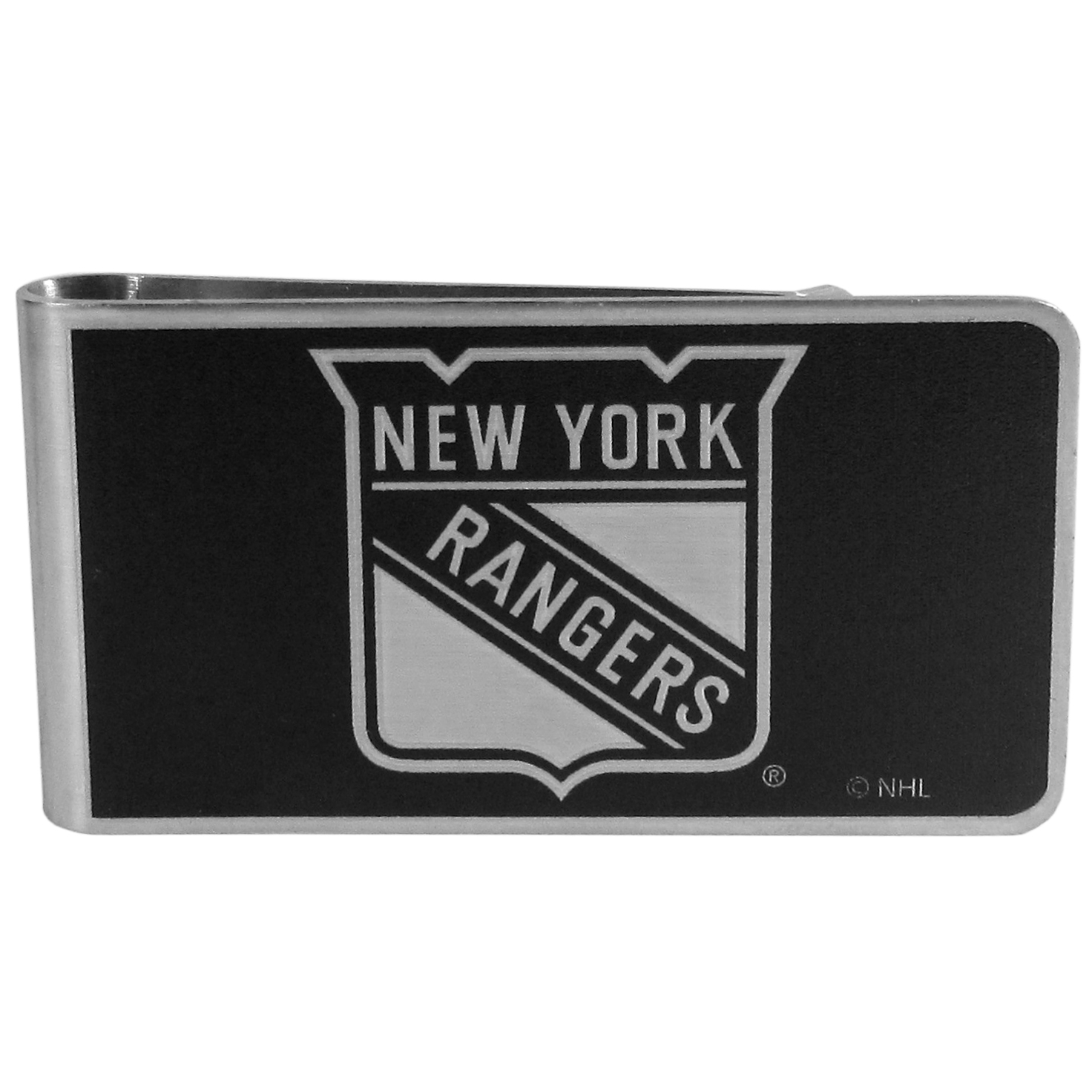New York Rangers® Black and Steel Money Clip - Our monochromatic steel money clips have a classic style and superior quality. The strong, steel clip has a black overlay of the New York Rangers® logo over the brushed metal finish creating a stylish men's fashion accessory that would make any fan proud.