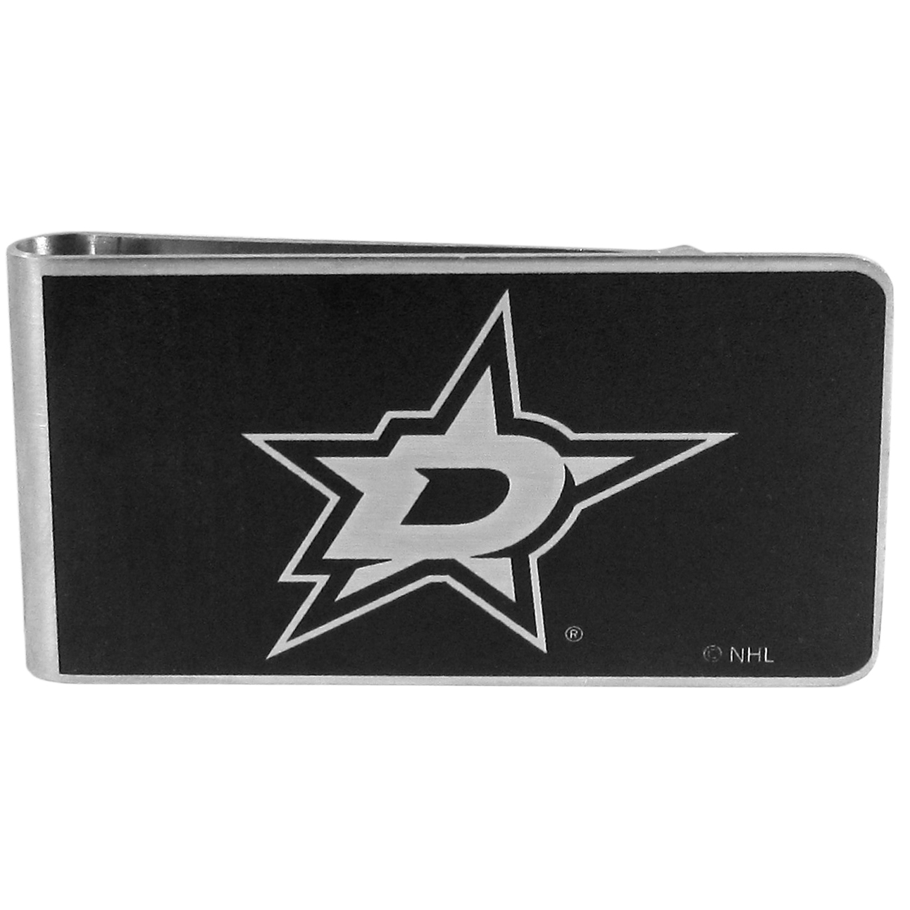 Dallas Stars™ Black and Steel Money Clip - Our monochromatic steel money clips have a classic style and superior quality. The strong, steel clip has a black overlay of the Dallas Stars™ logo over the brushed metal finish creating a stylish men's fashion accessory that would make any fan proud.