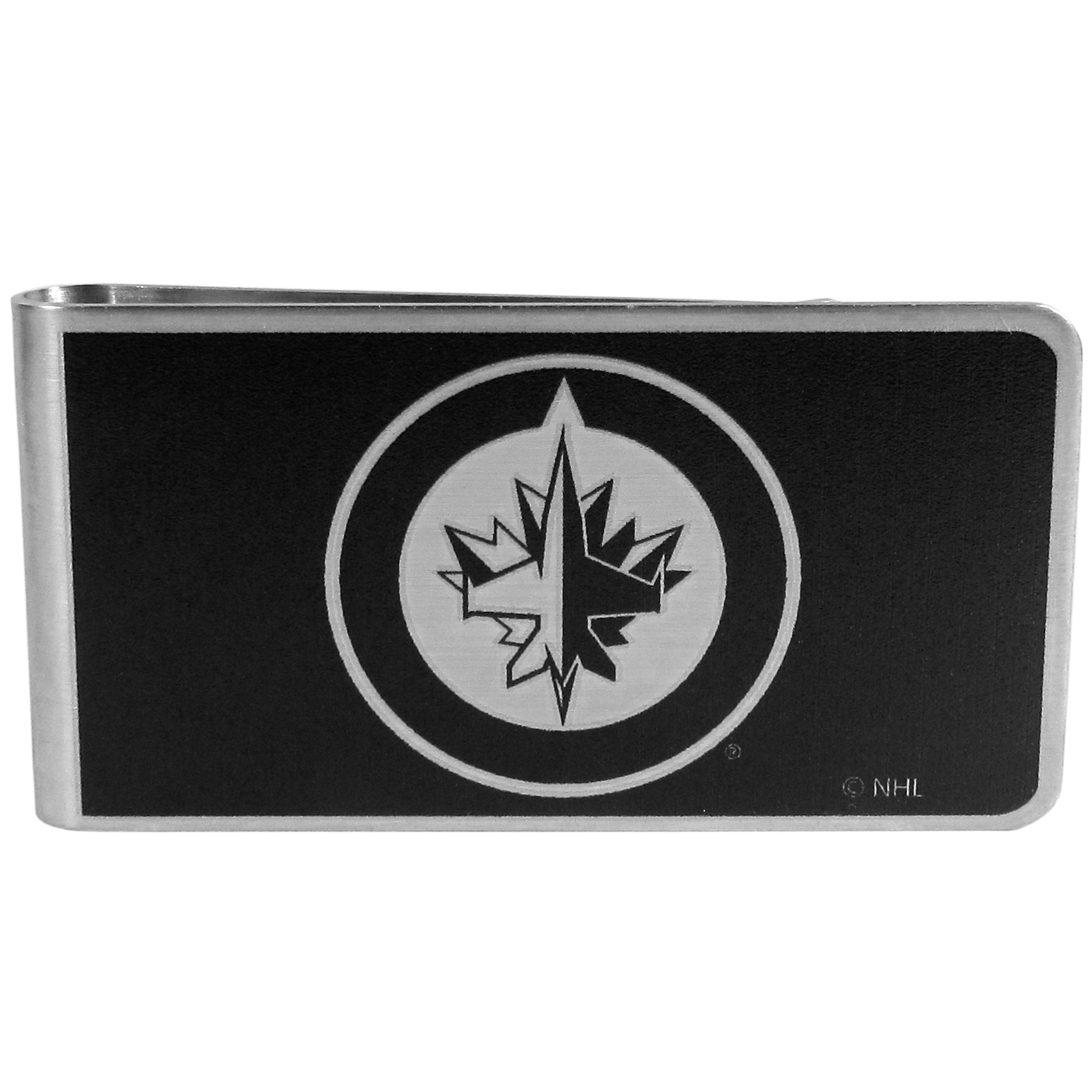 Winnipeg Jets™ Black and Steel Money Clip - Our monochromatic steel money clips have a classic style and superior quality. The strong, steel clip has a black overlay of the Winnipeg Jets™ logo over the brushed metal finish creating a stylish men's fashion accessory that would make any fan proud.