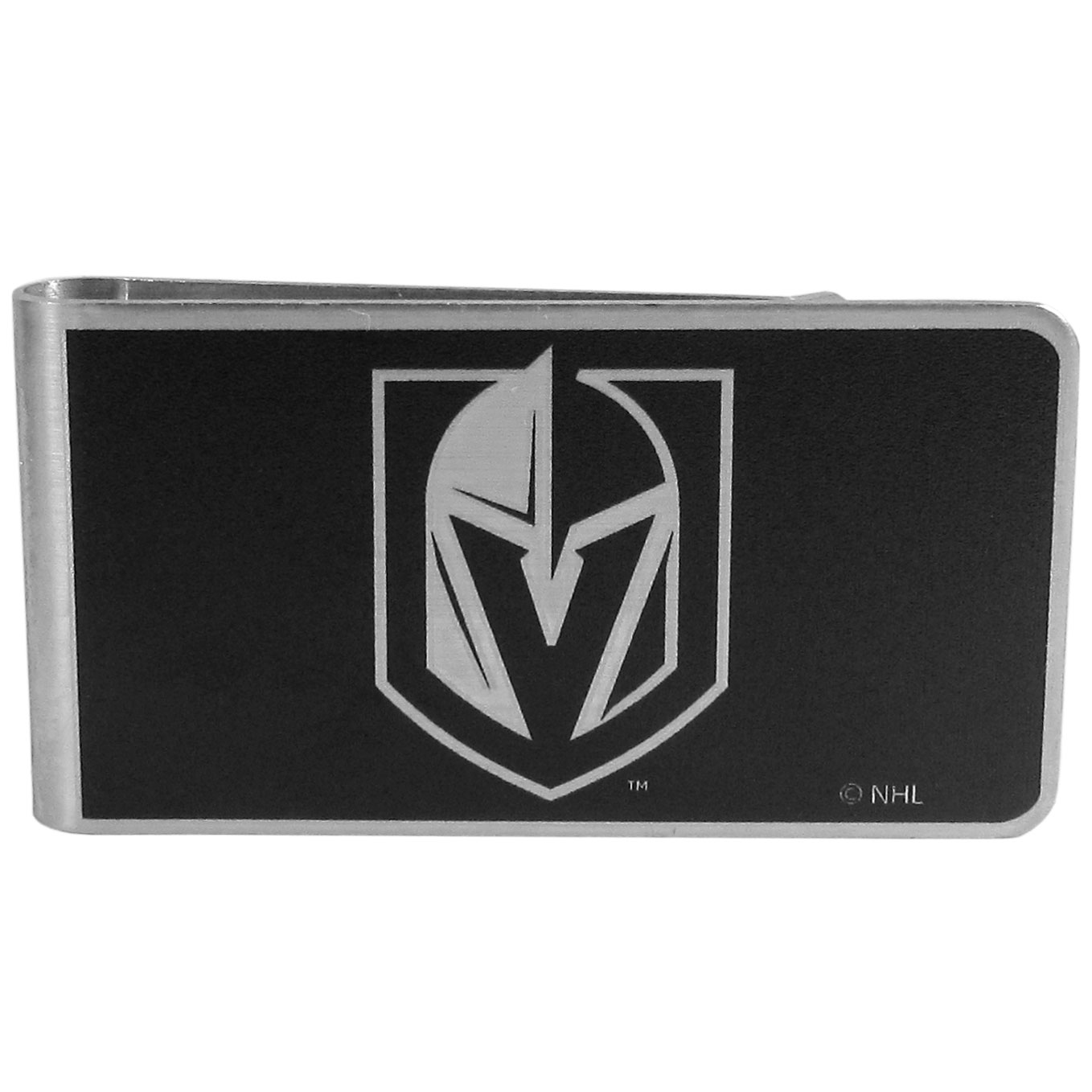 Las Vegas Golden Knights® Black and Steel Money Clip - Our monochromatic steel money clips have a classic style and superior quality. The strong, steel clip has a black overlay of the Las Vegas Golden Knights® logo over the brushed metal finish creating a stylish men's fashion accessory that would make any fan proud.