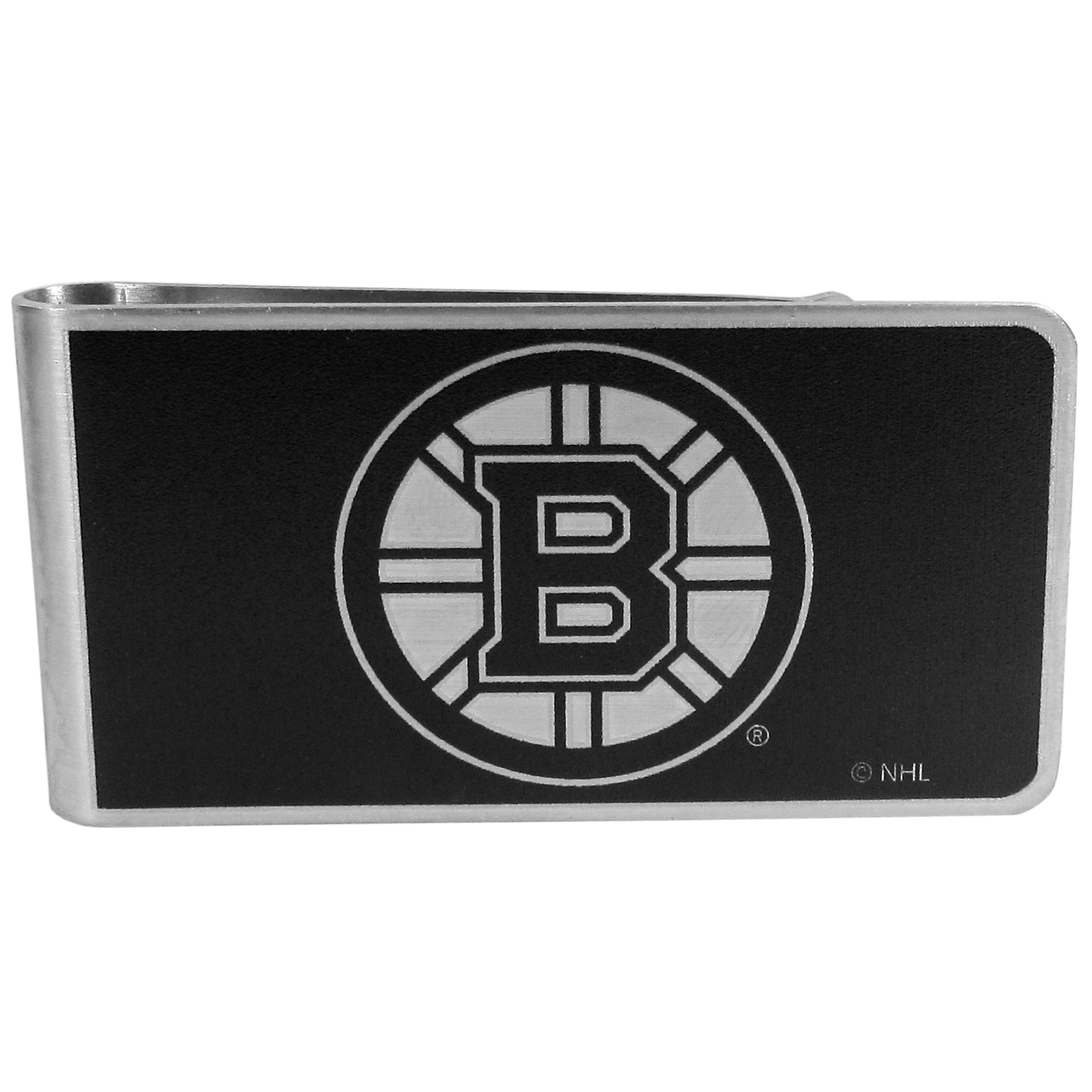 Boston Bruins® Black and Steel Money Clip - Our monochromatic steel money clips have a classic style and superior quality. The strong, steel clip has a black overlay of the Boston Bruins® logo over the brushed metal finish creating a stylish men's fashion accessory that would make any fan proud.
