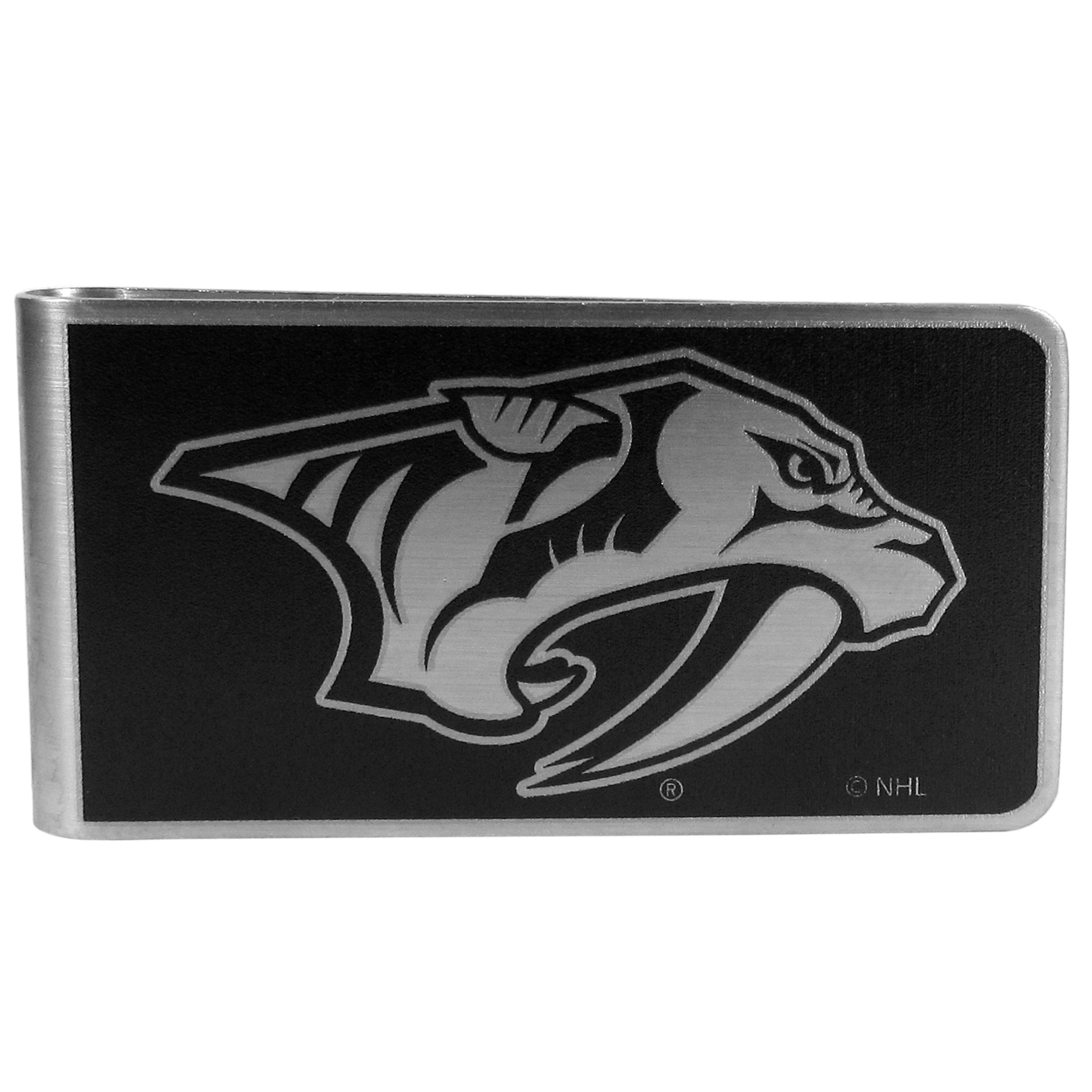 Nashville Predators® Black and Steel Money Clip - Our monochromatic steel money clips have a classic style and superior quality. The strong, steel clip has a black overlay of the Nashville Predators® logo over the brushed metal finish creating a stylish men's fashion accessory that would make any fan proud.